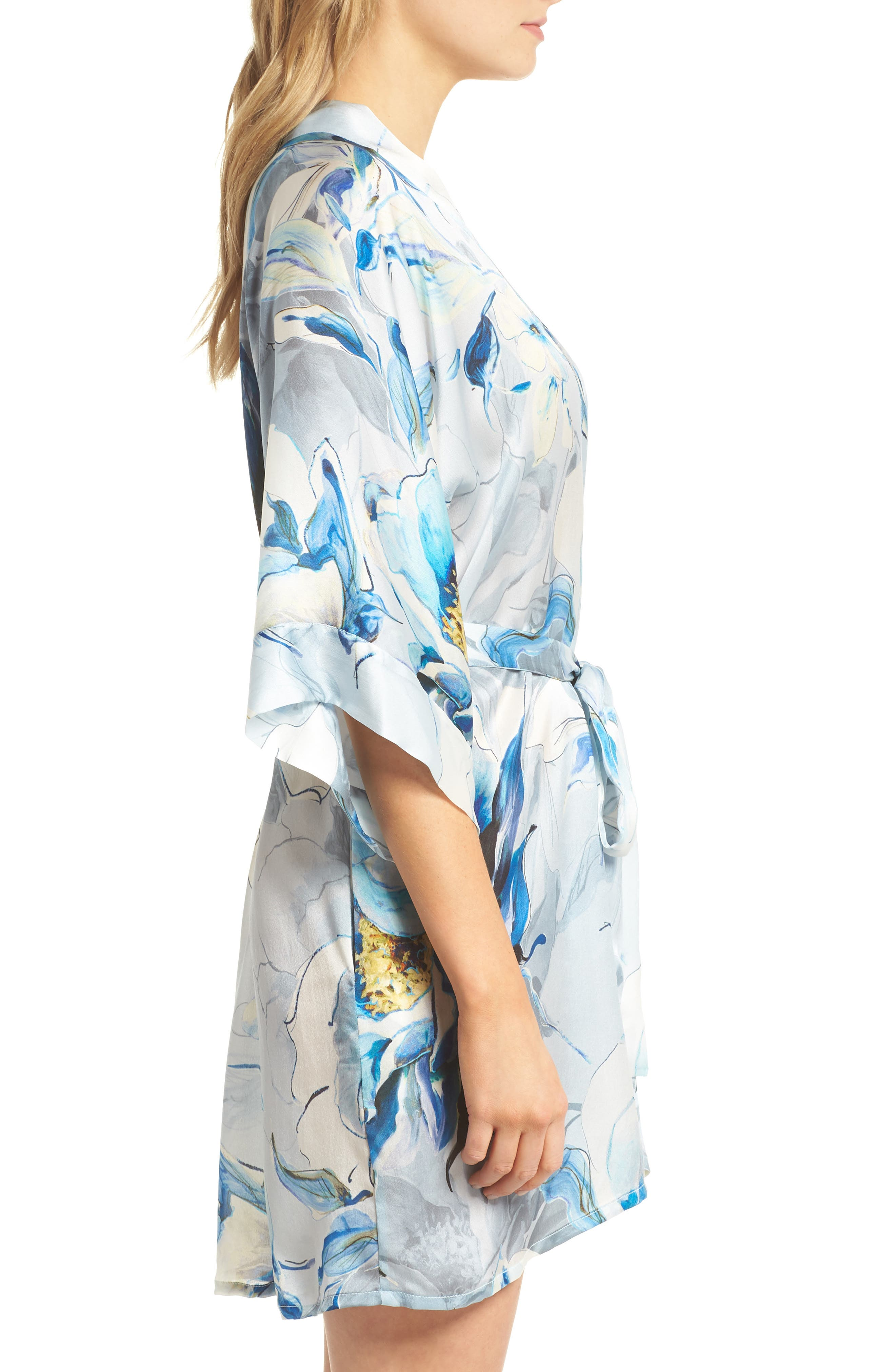 Short Silk Robe,                             Alternate thumbnail 3, color,                             Swept Away Print