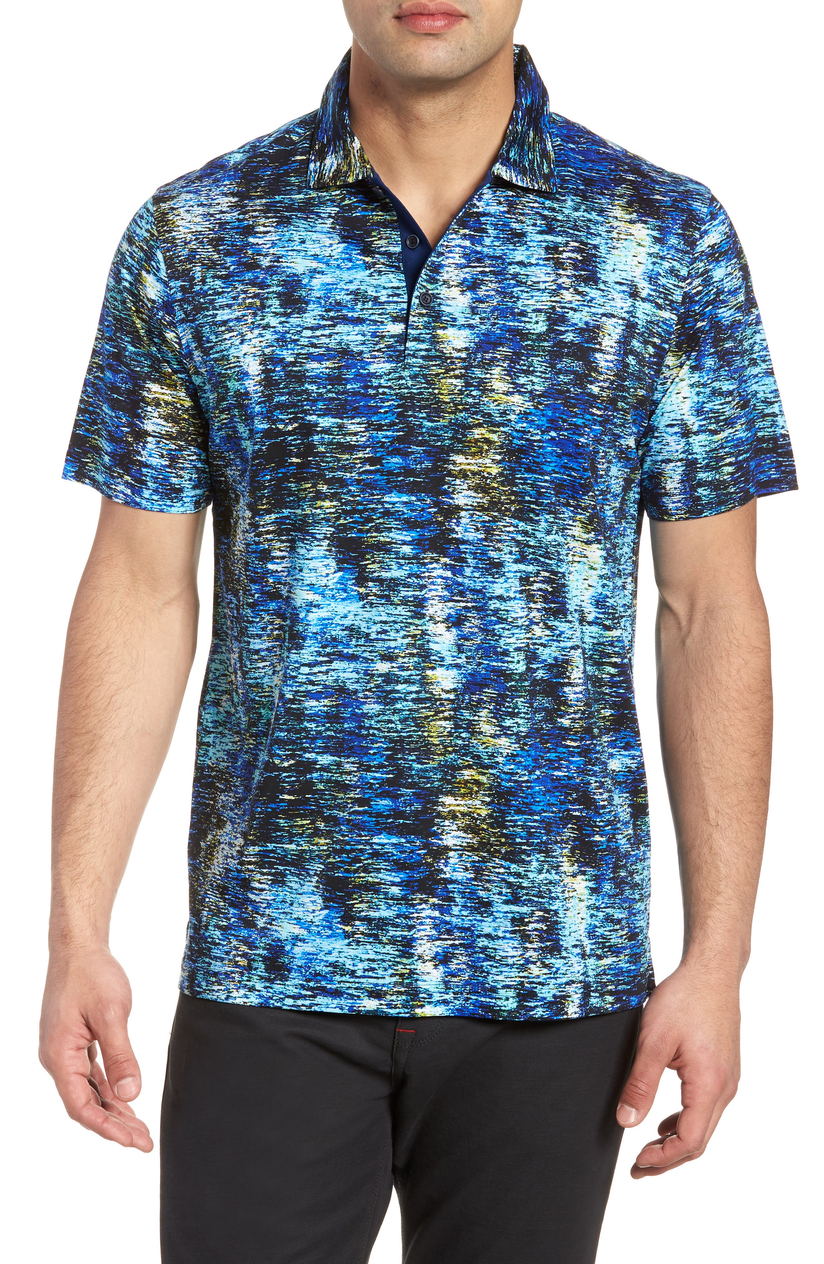 Knit Polo,                         Main,                         color, Turquoise