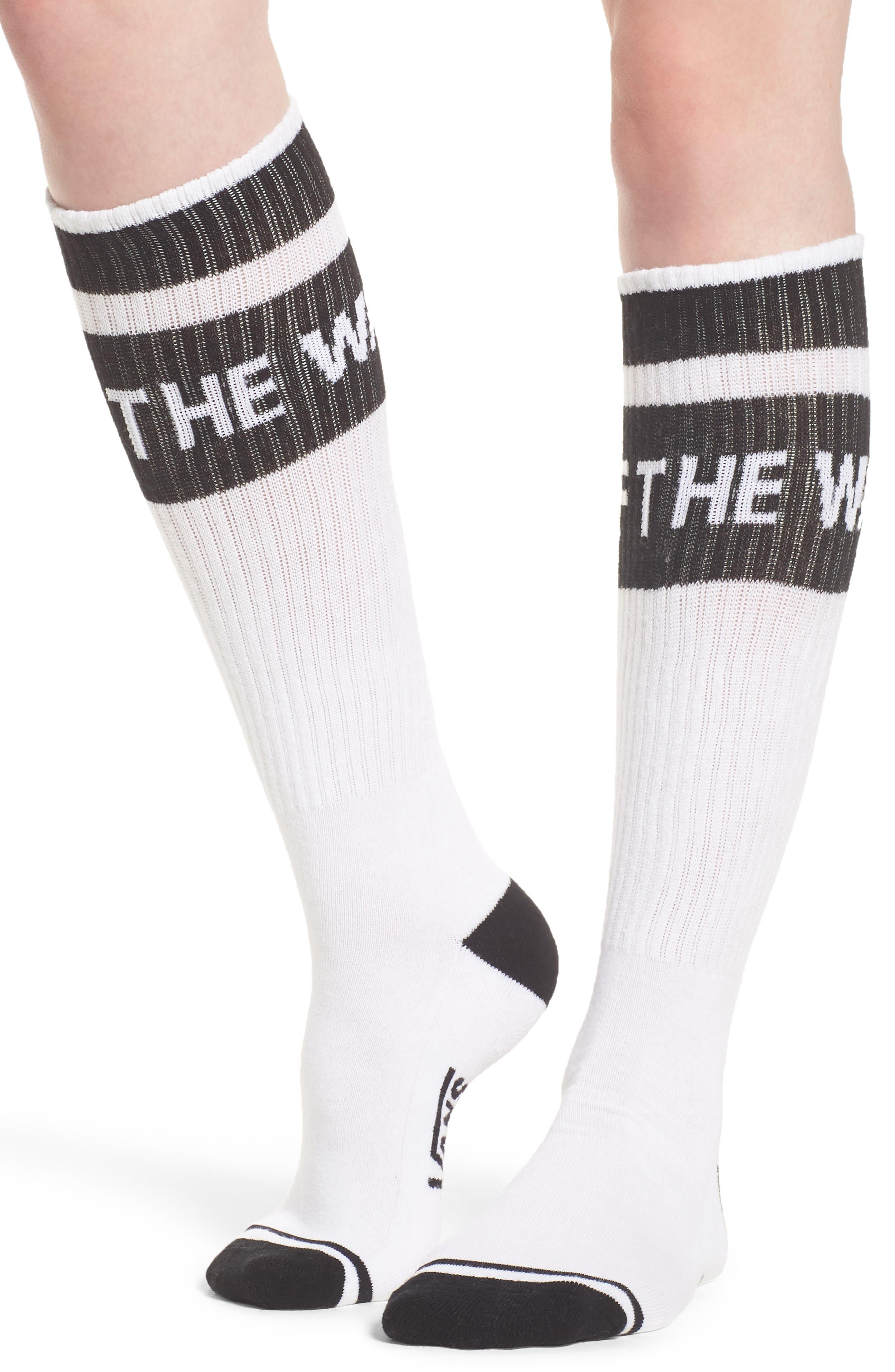 Summer Camp Tube Socks,                             Alternate thumbnail 2, color,                             White/ Black