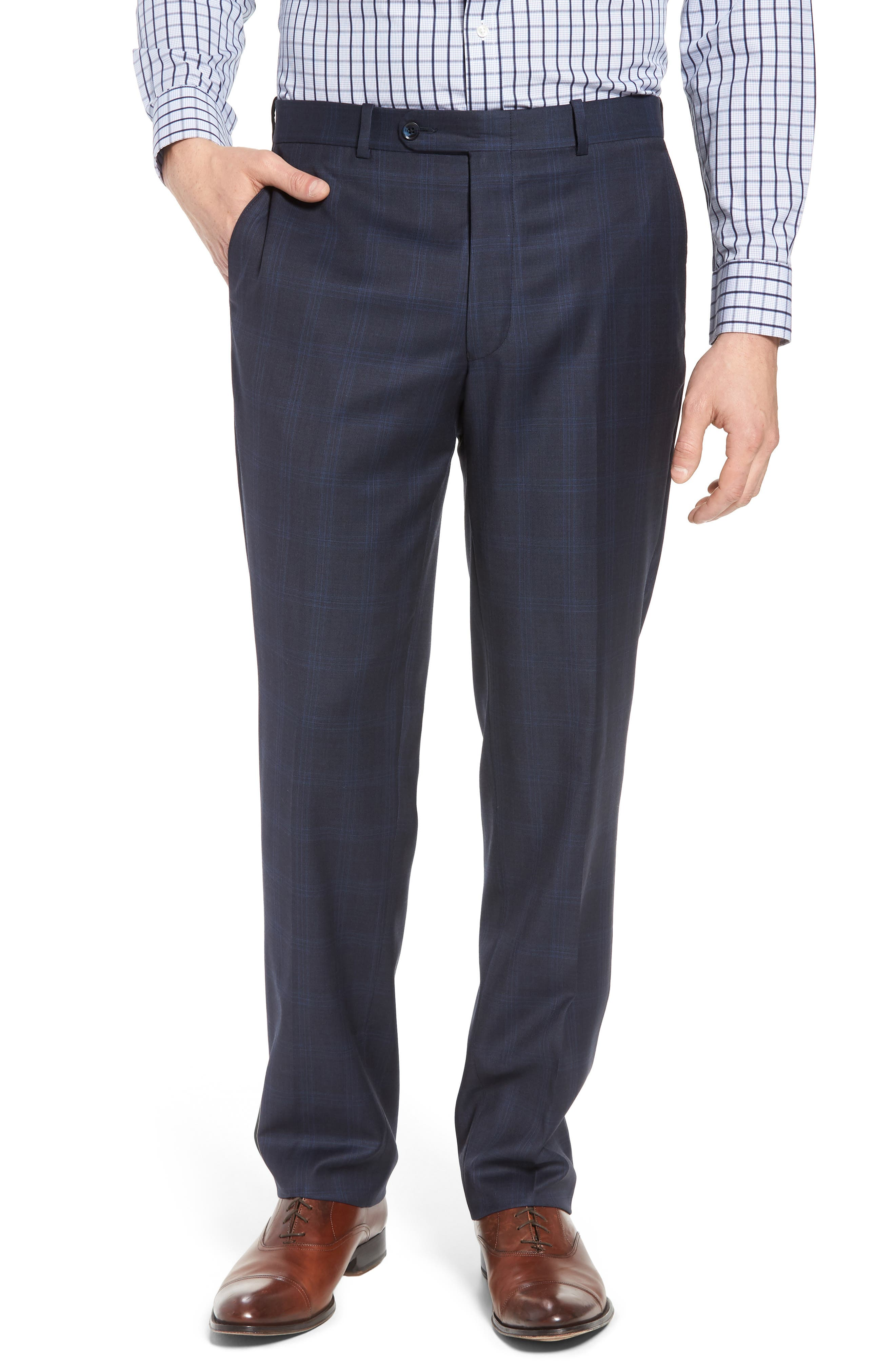 Classic Fit Plaid Wool Suit,                             Alternate thumbnail 6, color,                             Navy