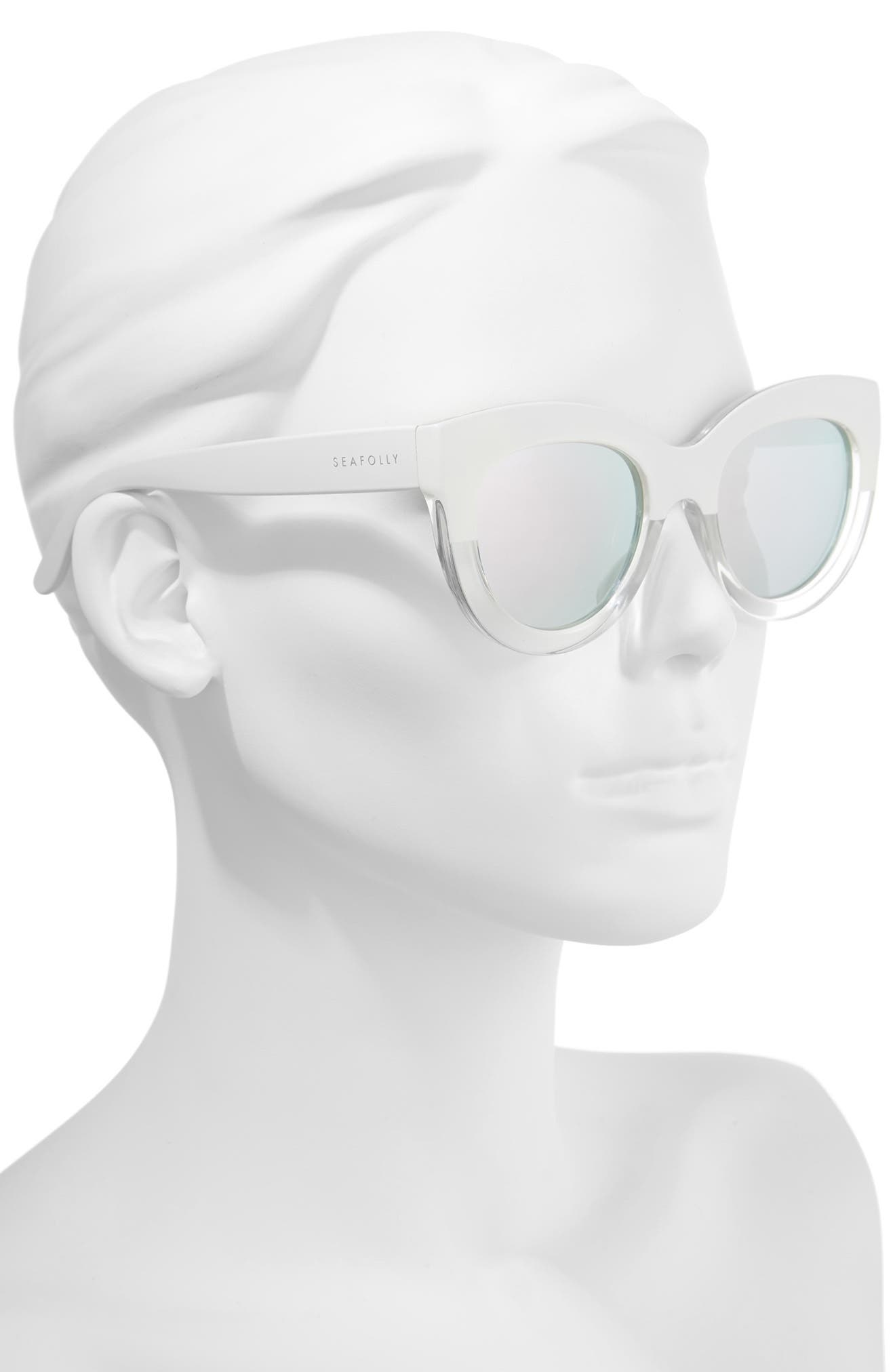 Tortola V2 51mm Polarized Cat Eye Sunglasses,                             Alternate thumbnail 2, color,                             White Splice