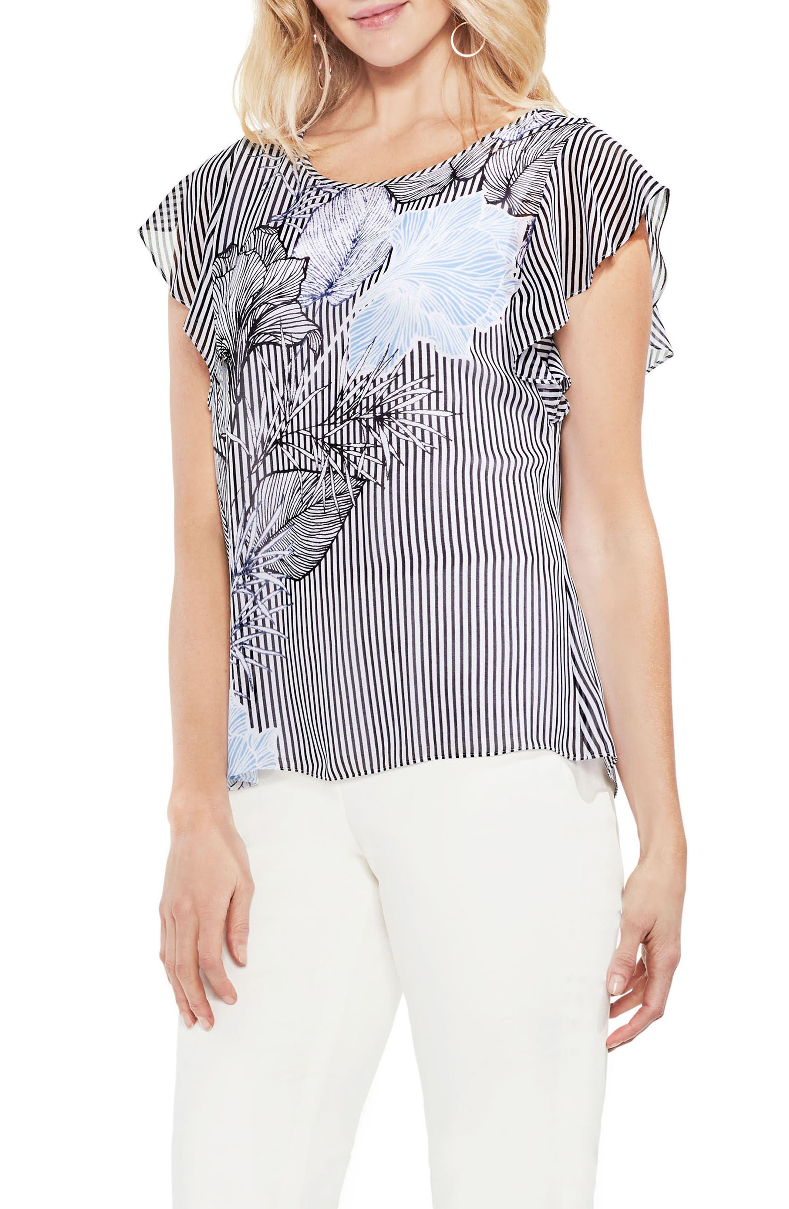 Flutter Sleeved Etched Floral Stripe Top,                         Main,                         color, Rich Black