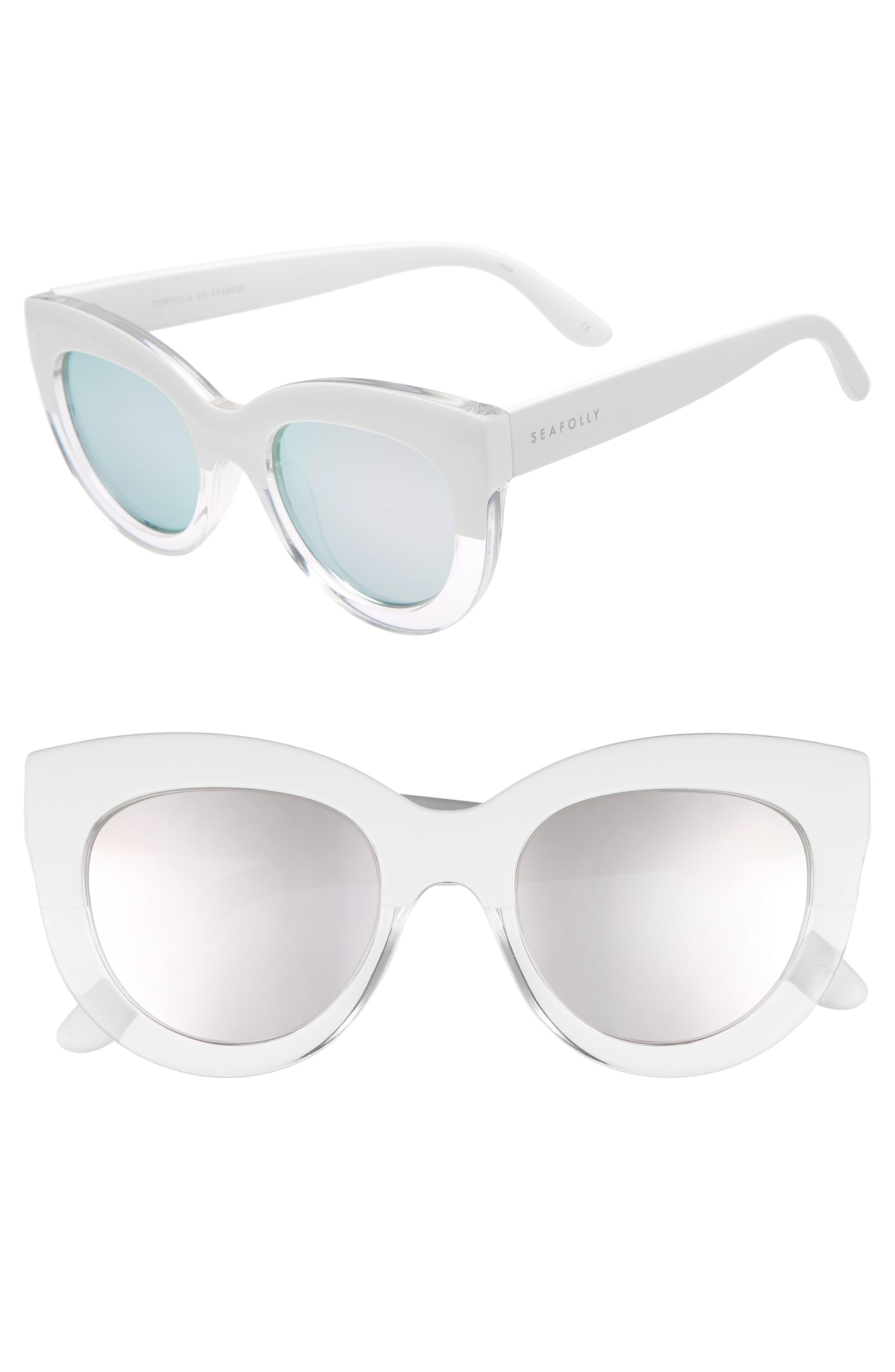 Tortola V2 51mm Polarized Cat Eye Sunglasses,                         Main,                         color, White Splice