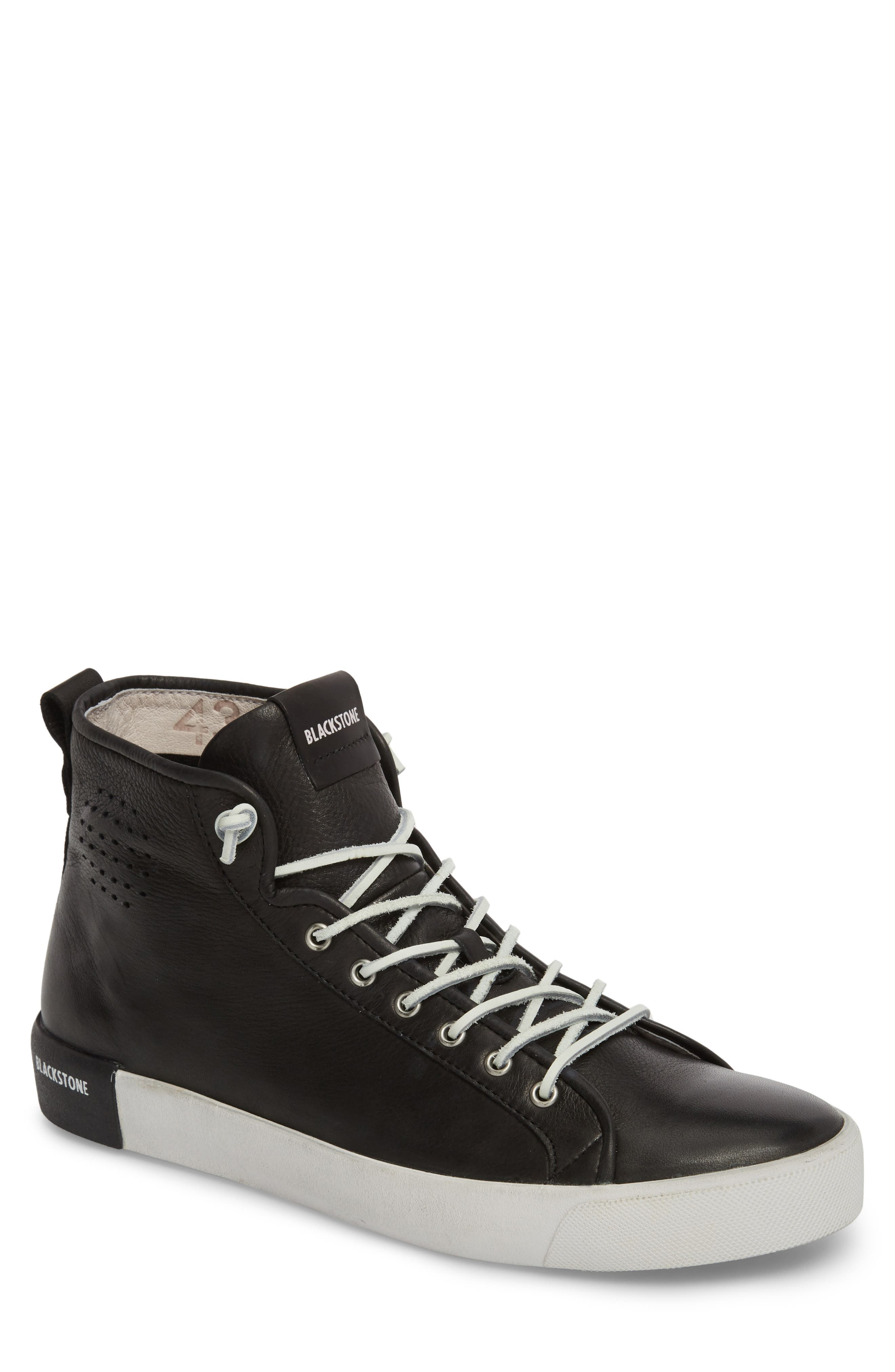 PM43 Slip-On High Top Sneaker,                             Main thumbnail 1, color,                             Black Leather