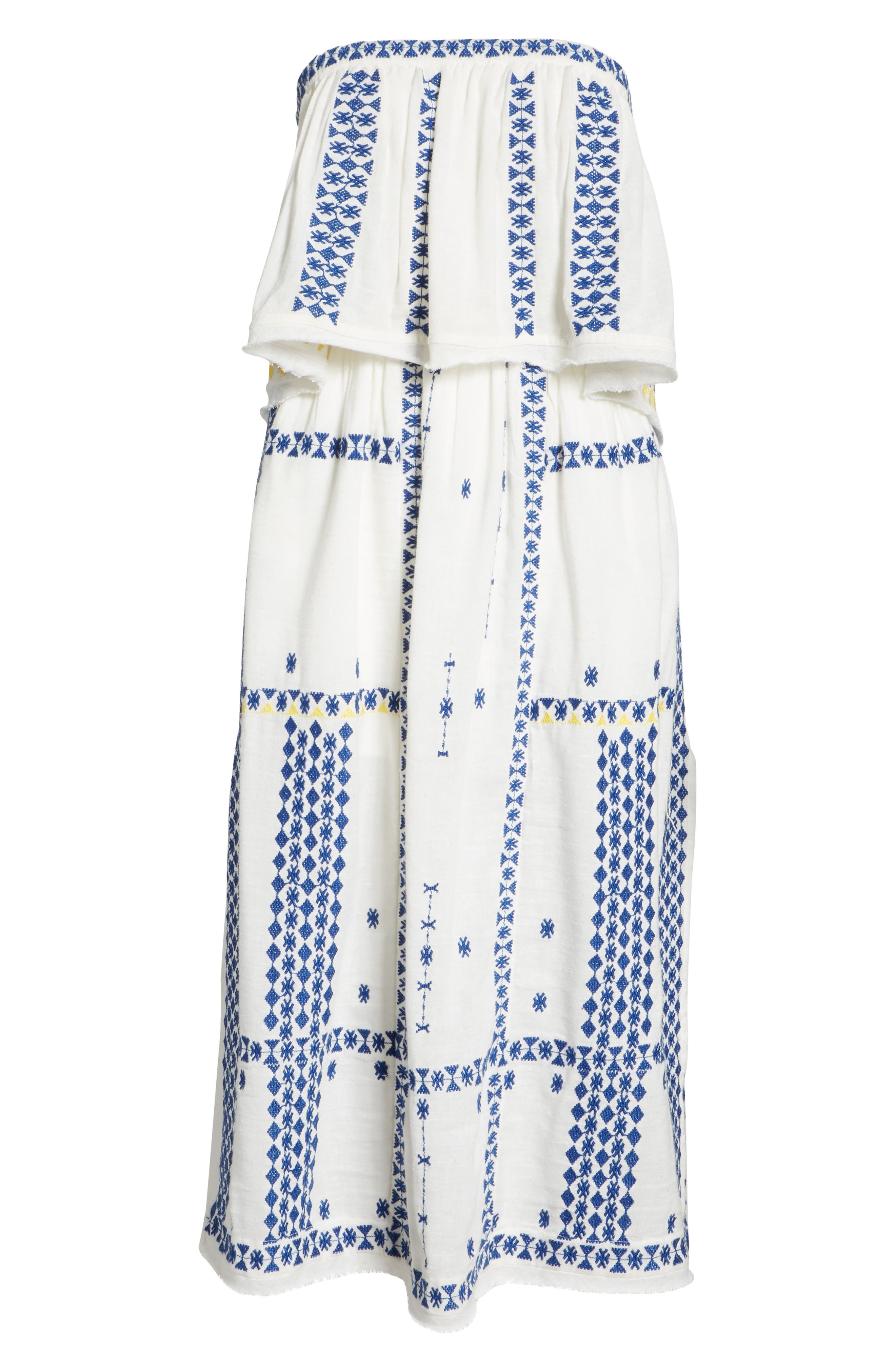 Wild Romance Embroidered Dress,                             Alternate thumbnail 6, color,                             Ivory