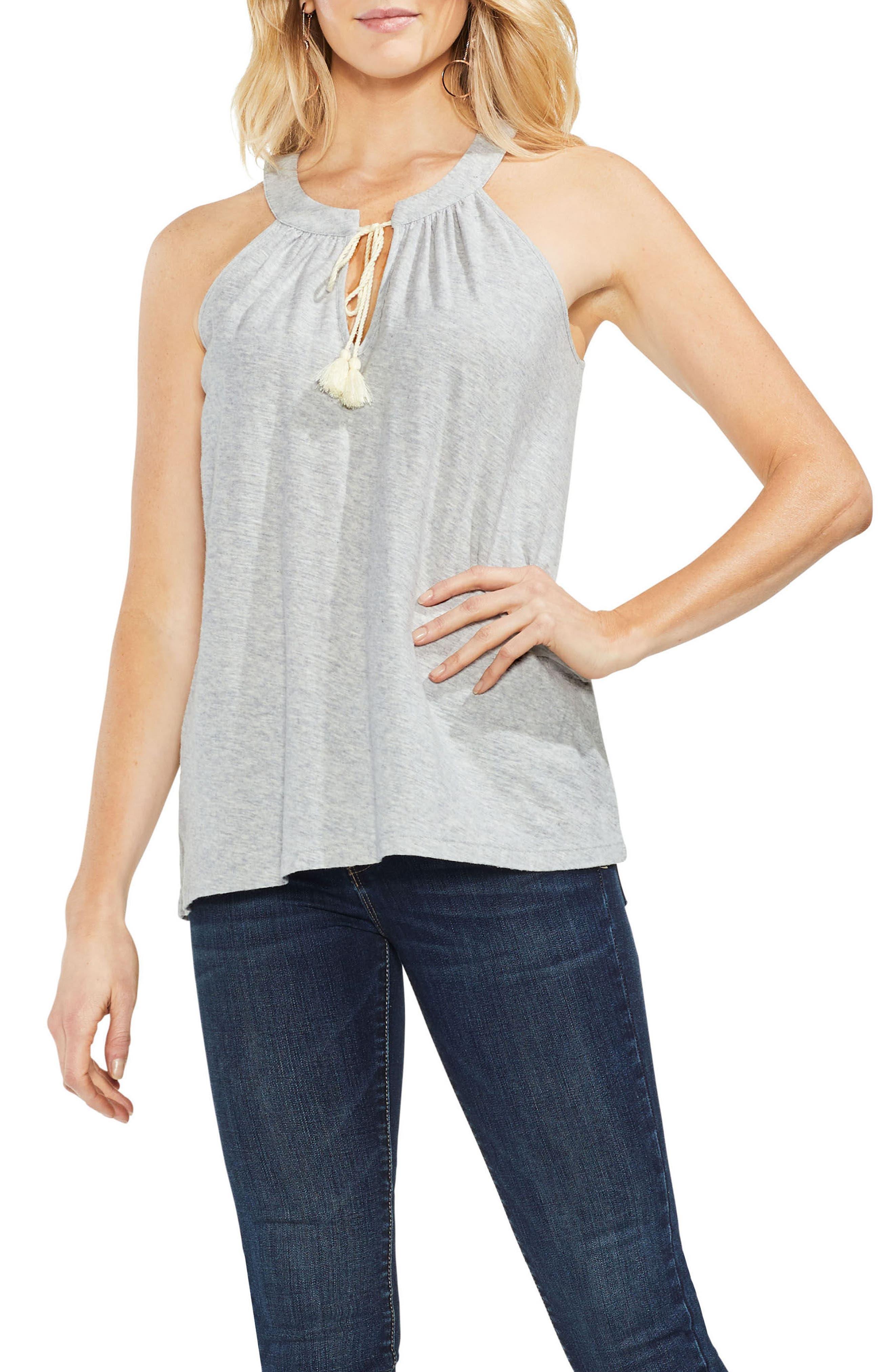 Tassel Neck Halter Cotton Top,                         Main,                         color, Grey Heather