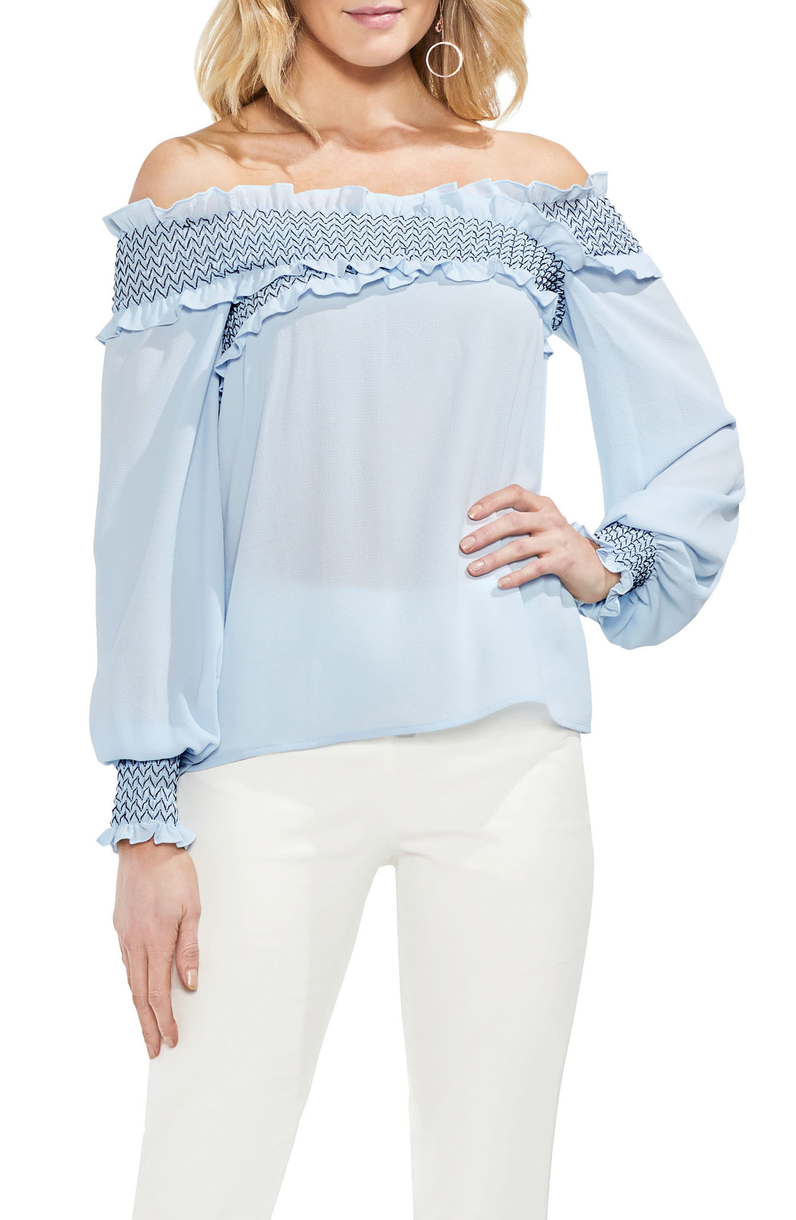 Smocked Cross Front Off the Shoulder Blouse,                             Main thumbnail 1, color,                             Dew Blue