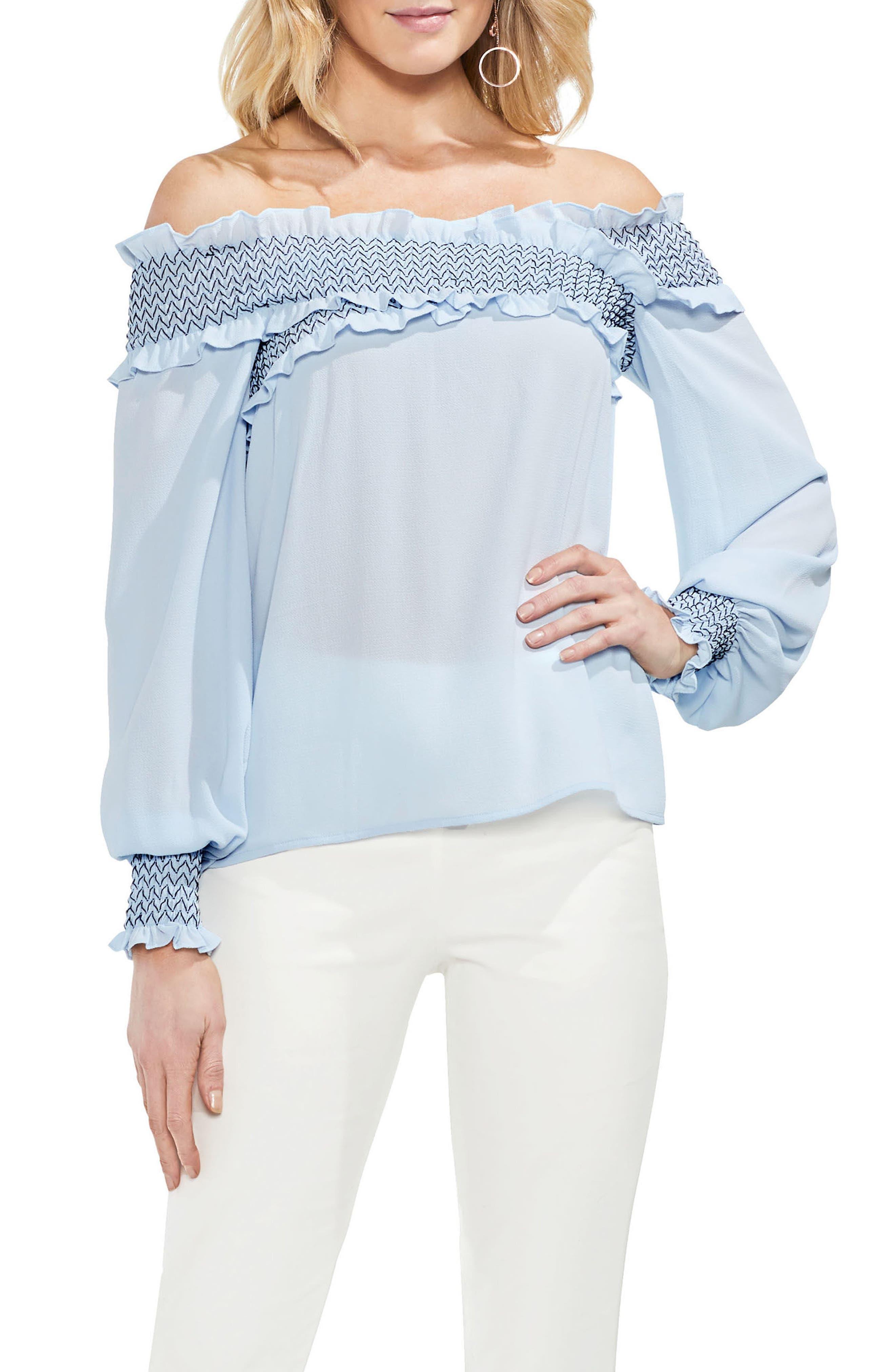 Smocked Cross Front Off the Shoulder Blouse,                         Main,                         color, Dew Blue