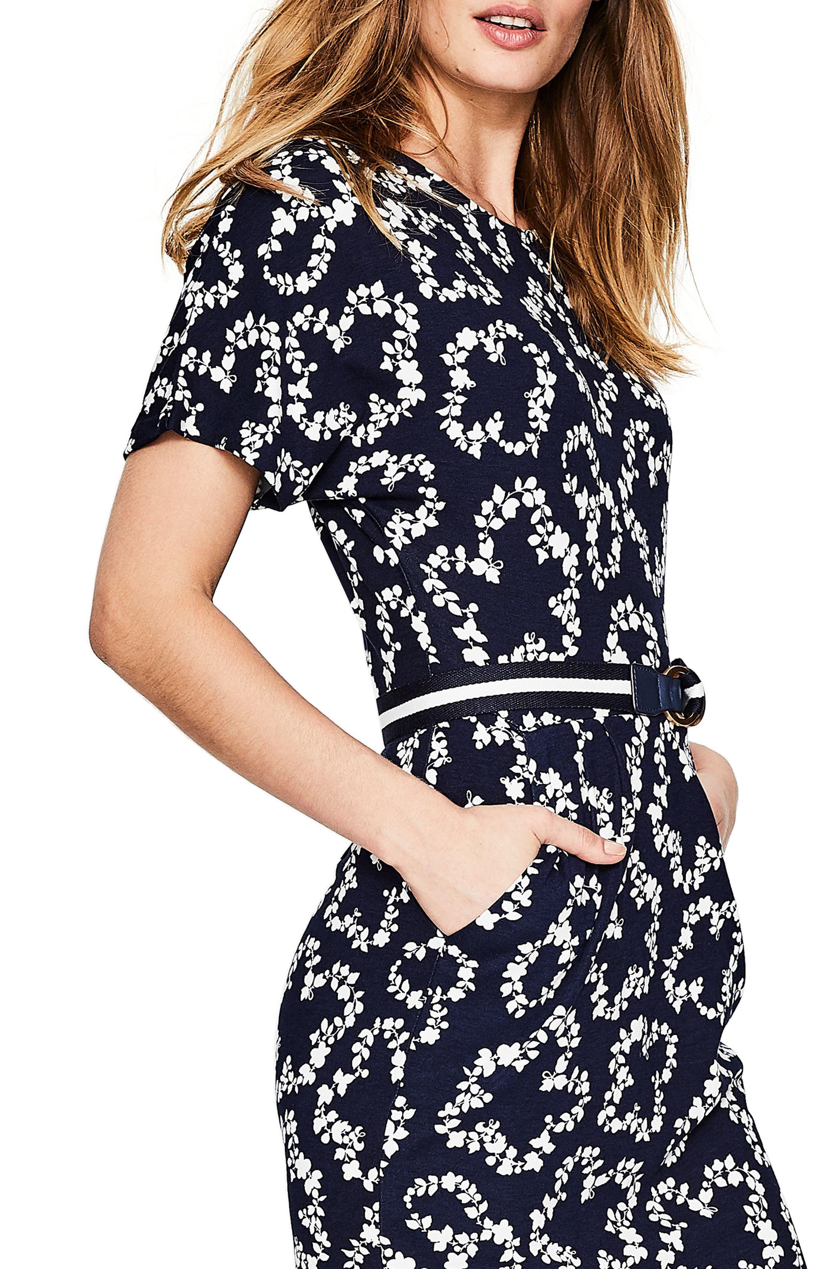 Fluted Sleeve Midi Dress,                             Alternate thumbnail 5, color,                             Navy Garland