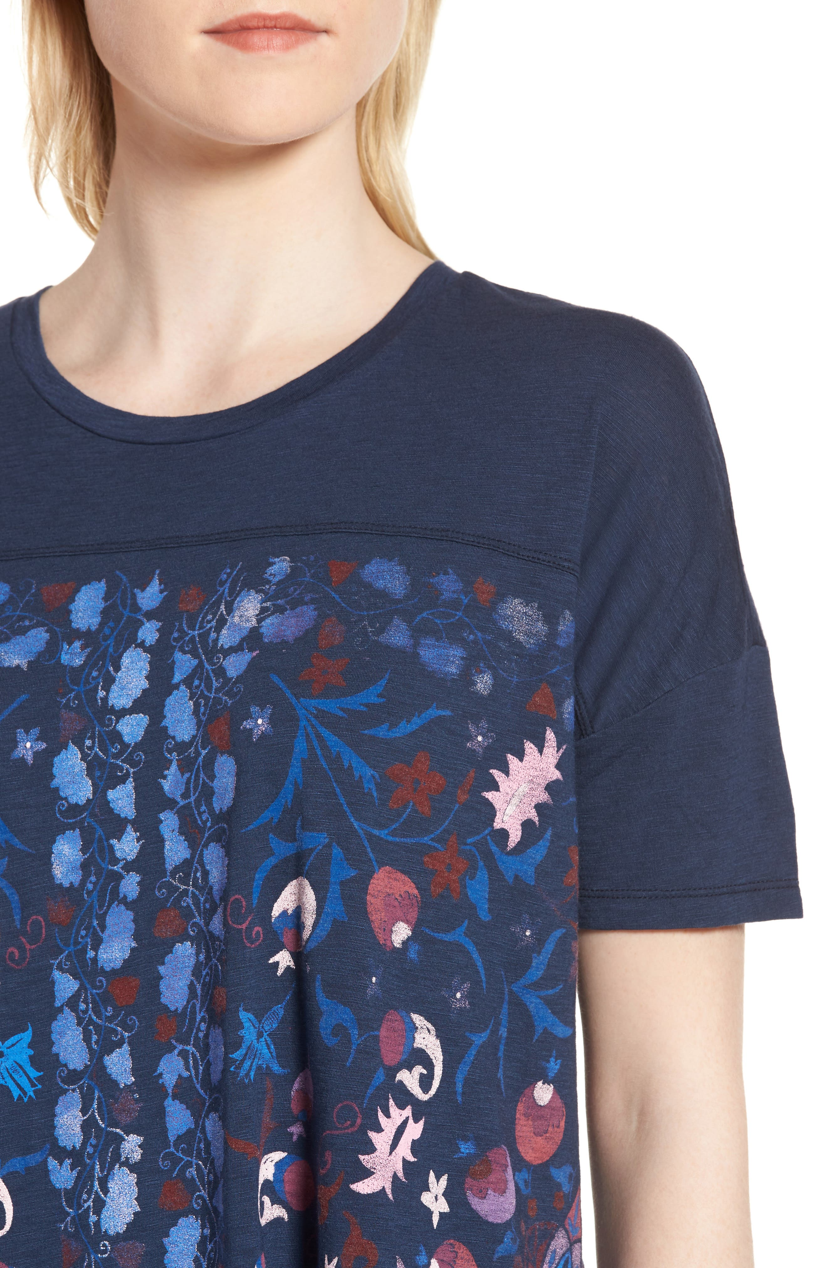Floral Print Tee,                             Alternate thumbnail 4, color,                             American Navy