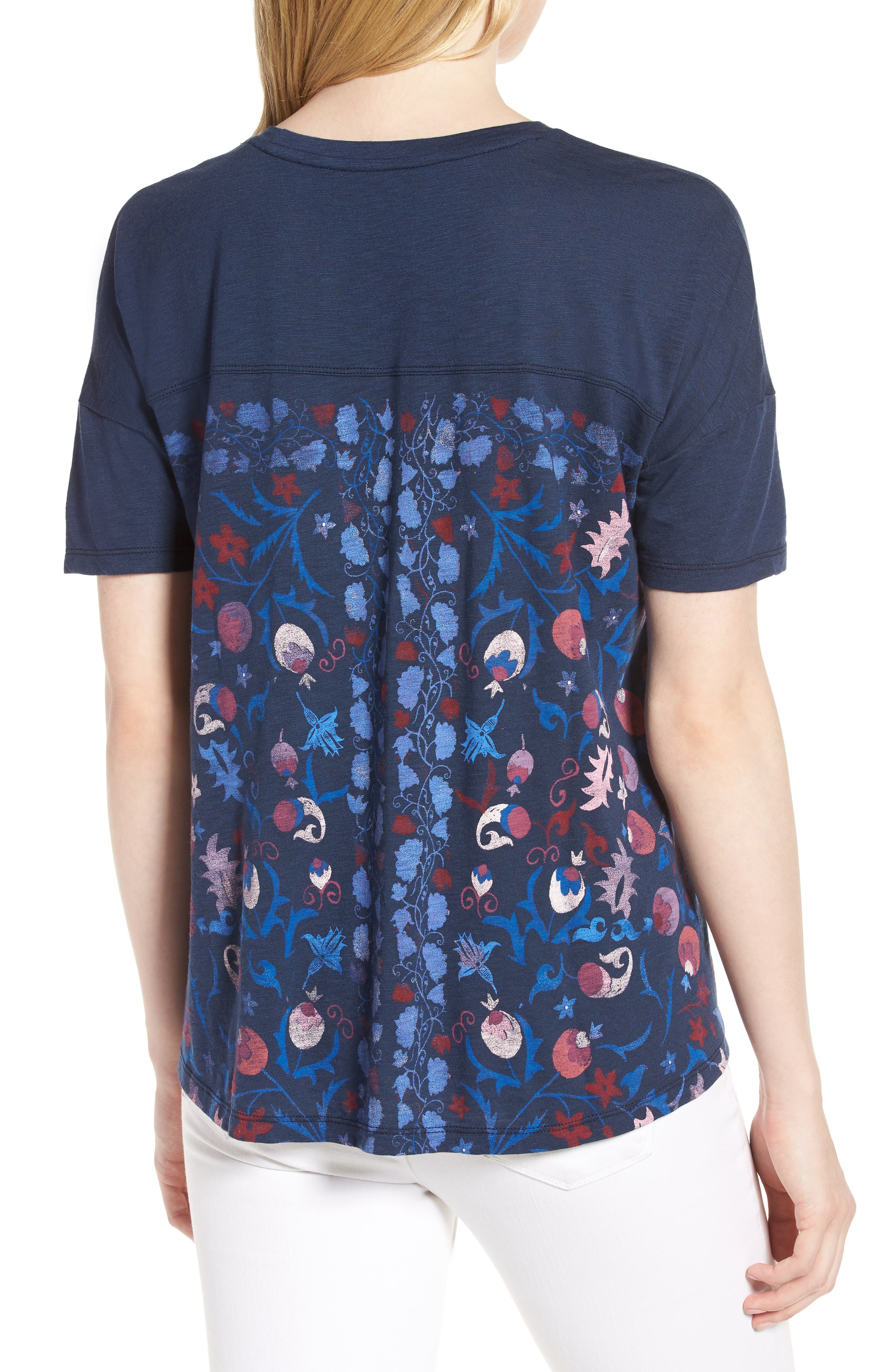 Floral Print Tee,                             Alternate thumbnail 2, color,                             American Navy