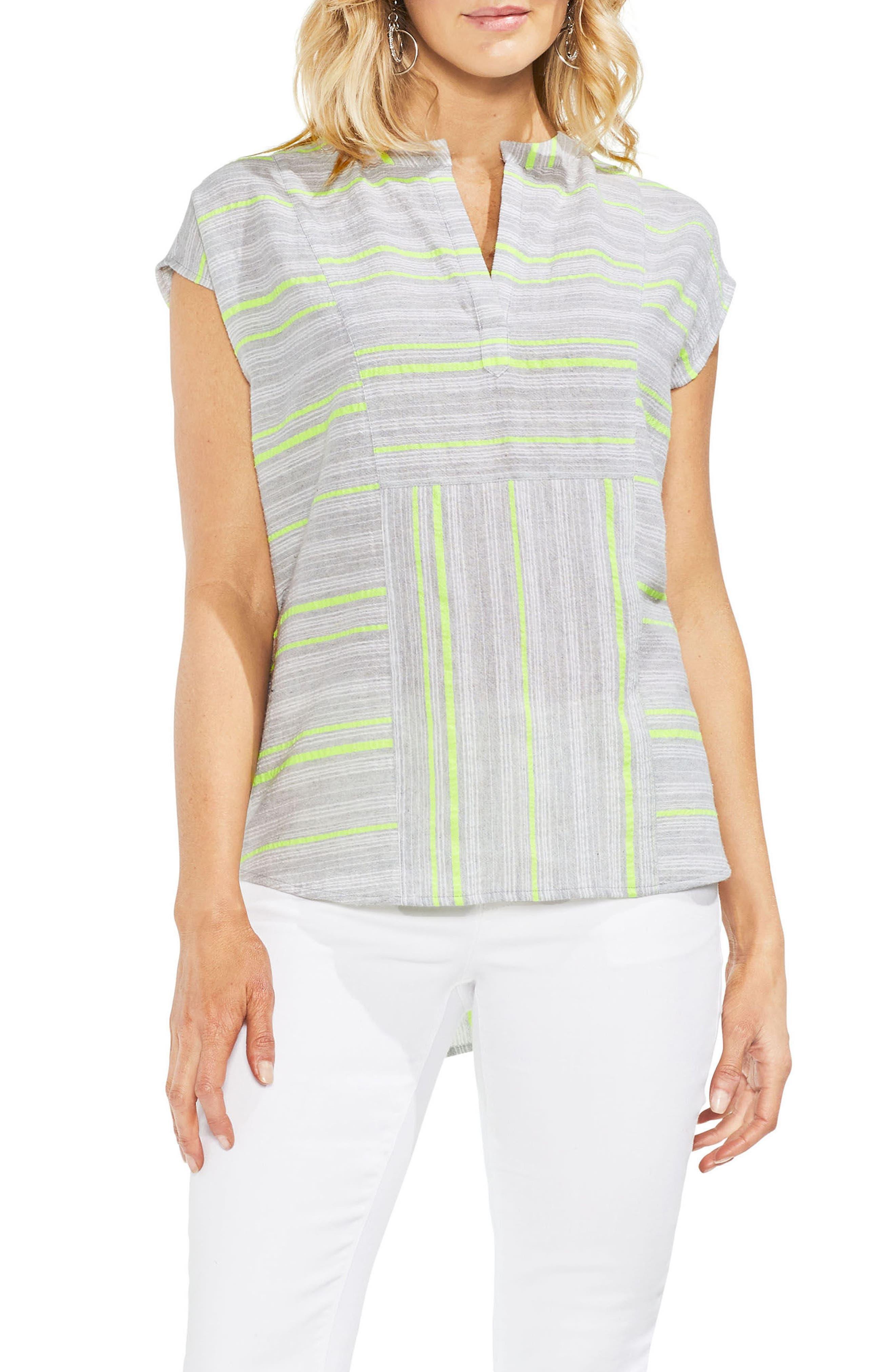 Cotton Blend Stripe Henley Top,                         Main,                         color, Island Lime