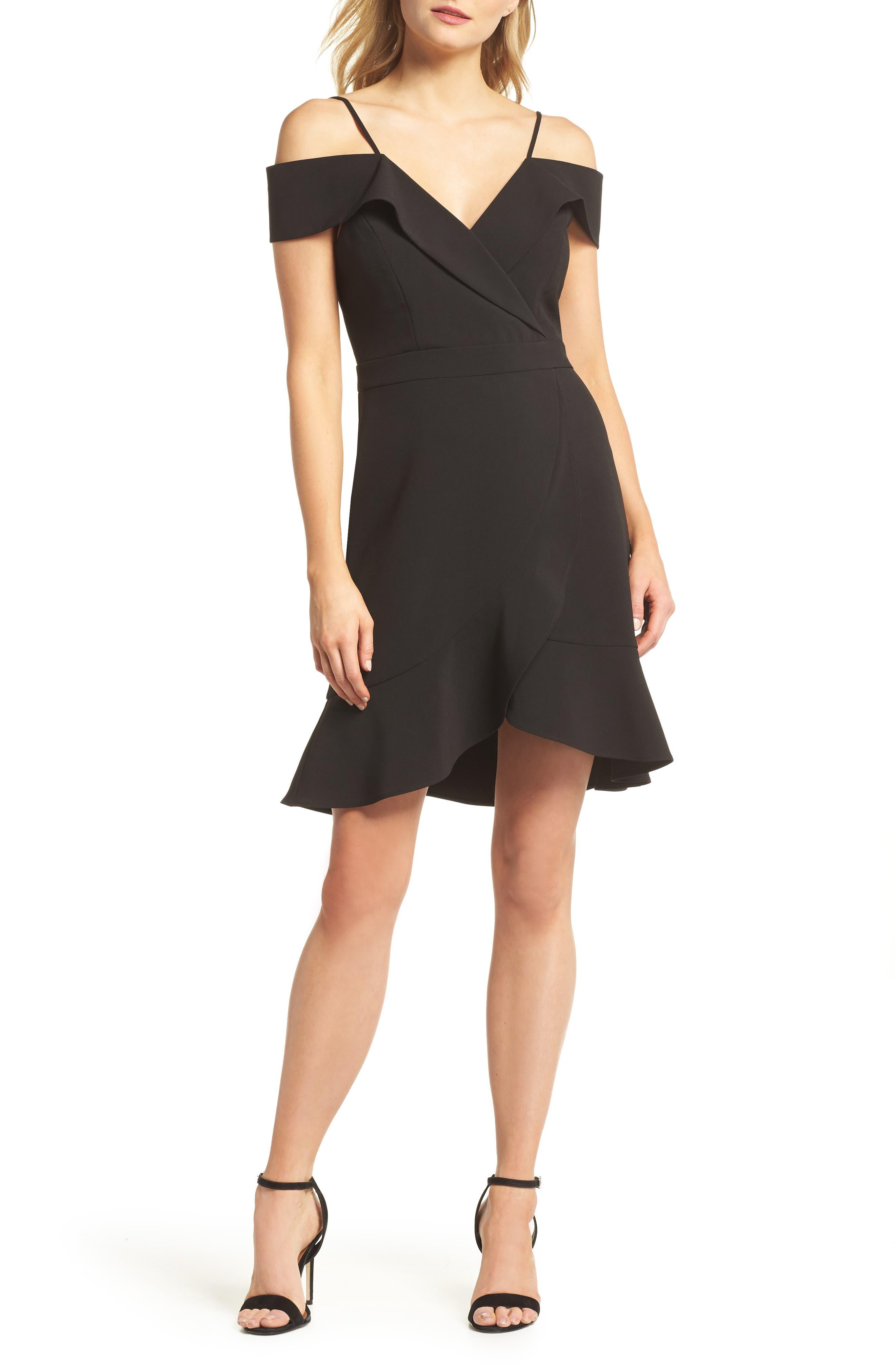 Cold Shoulder Ruffle Sheath Dress,                         Main,                         color, Black