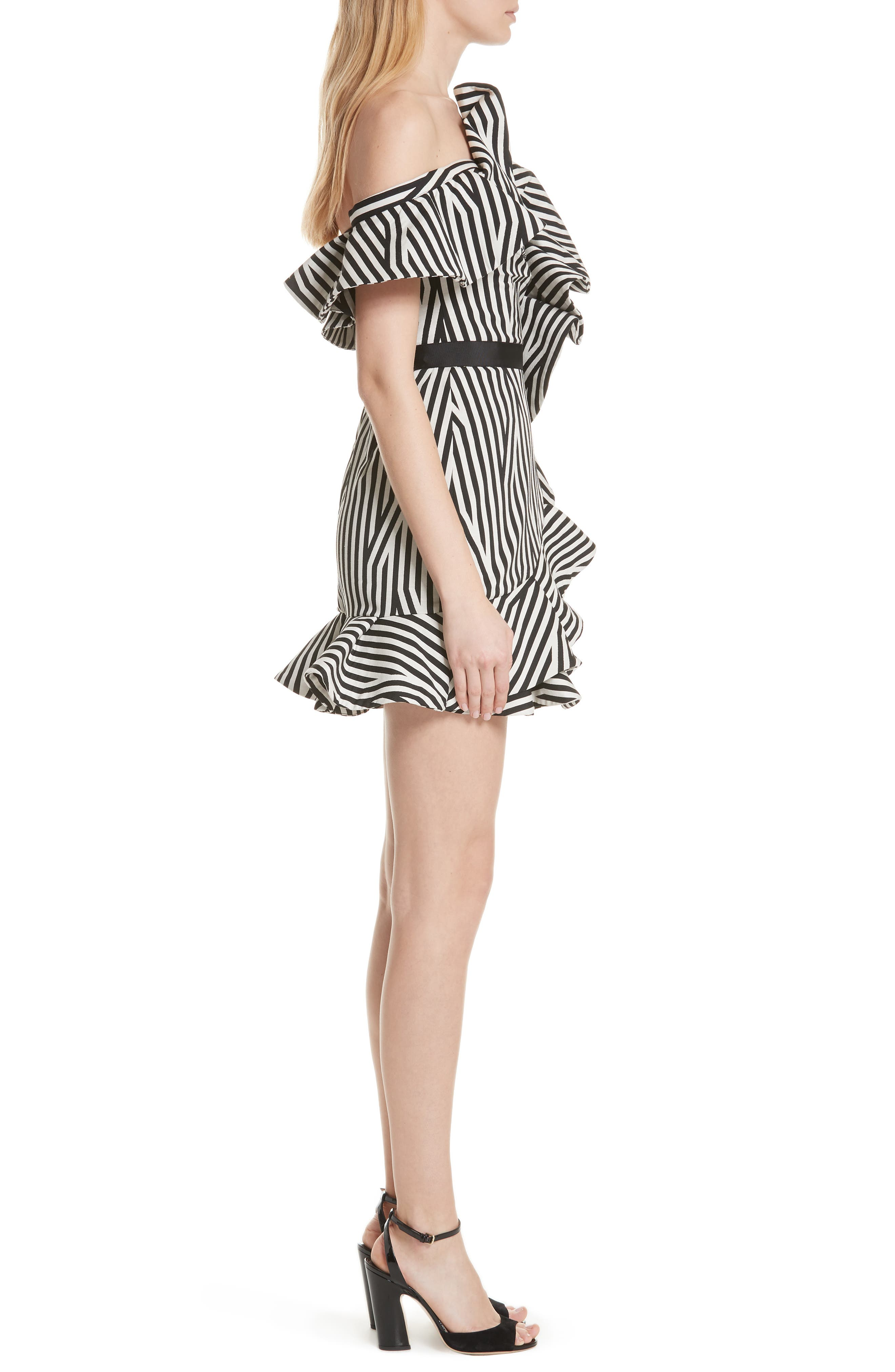 Abstract Stripe Asymmetrical Dress,                             Alternate thumbnail 3, color,                             Black/ White
