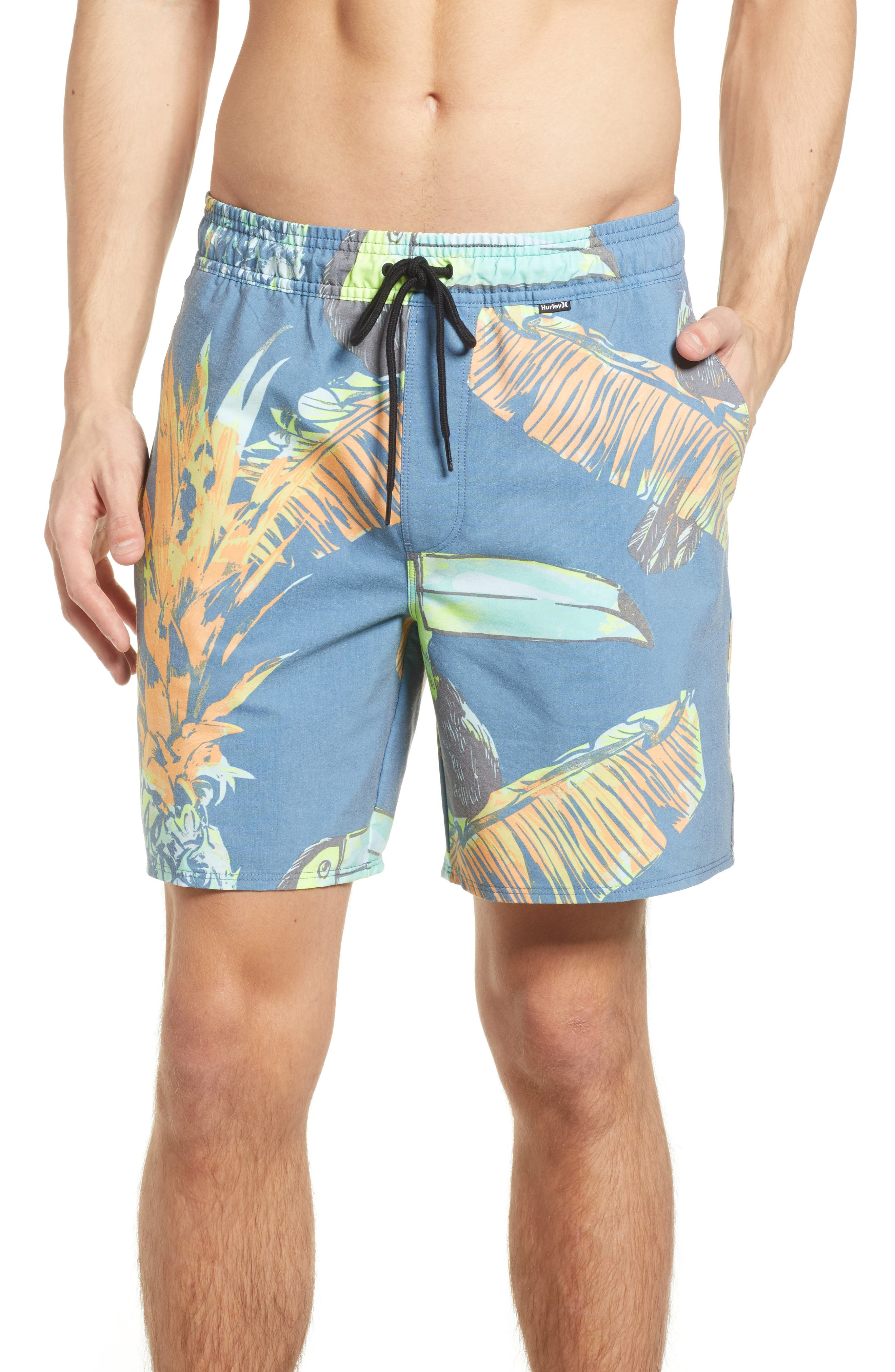 Paradise Volley Board Shorts,                         Main,                         color, Blue Force