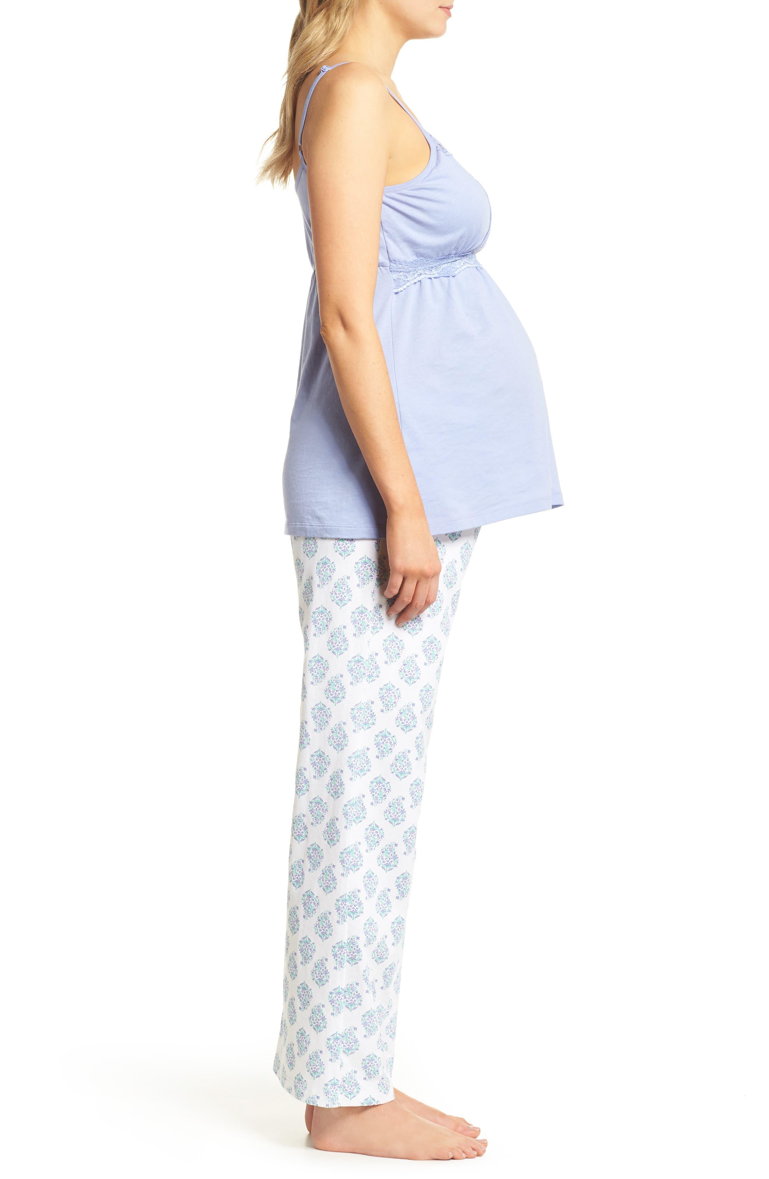 Violette Maternity/Nursing Pajamas,                             Alternate thumbnail 3, color,                             Indian Print
