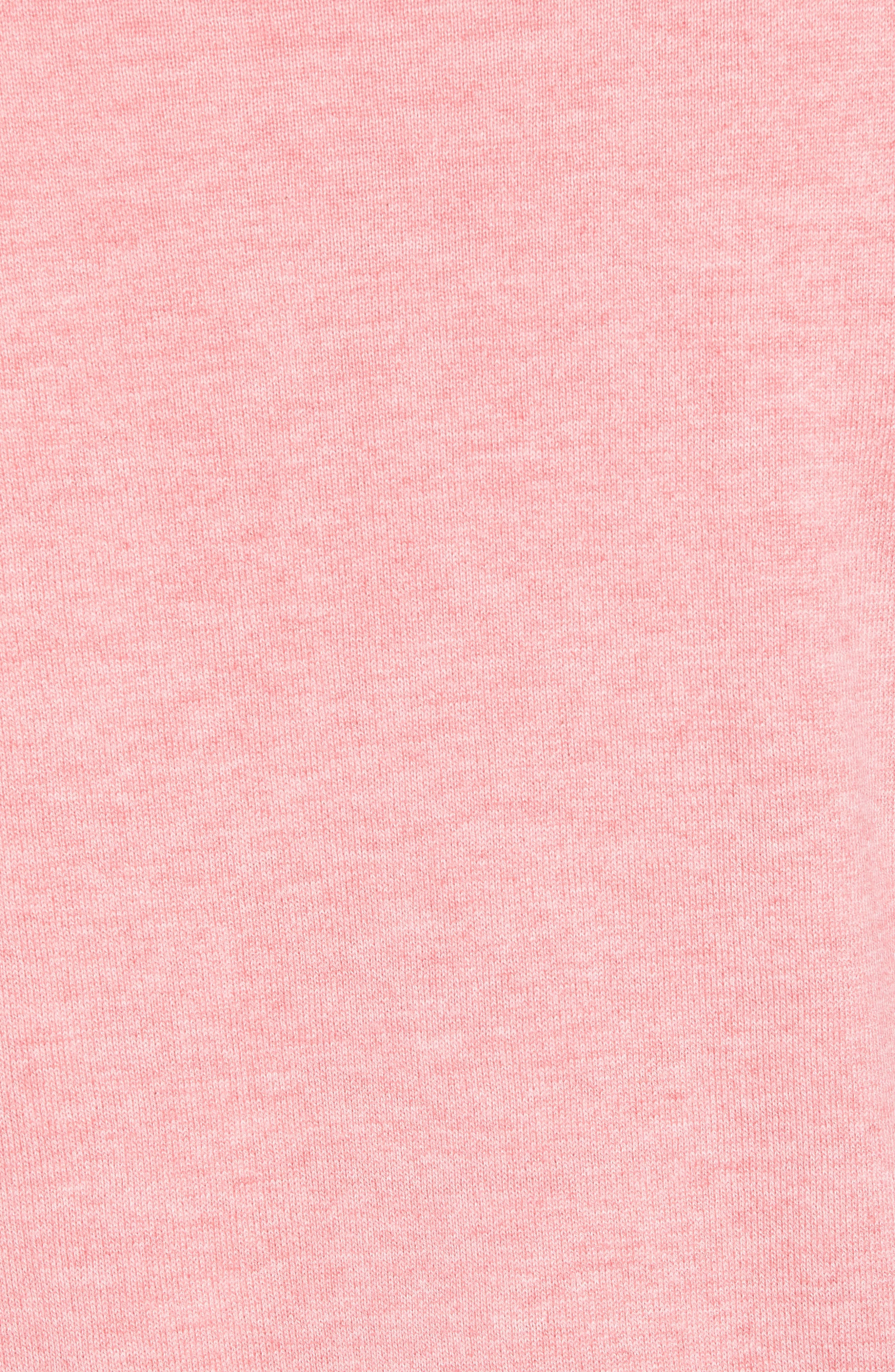 Cotton & Silk Quarter Zip Pullover,                             Alternate thumbnail 5, color,                             Pink