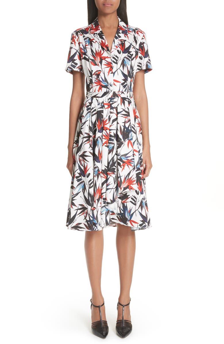 Bird of Paradise Print Cotton Poplin Dress