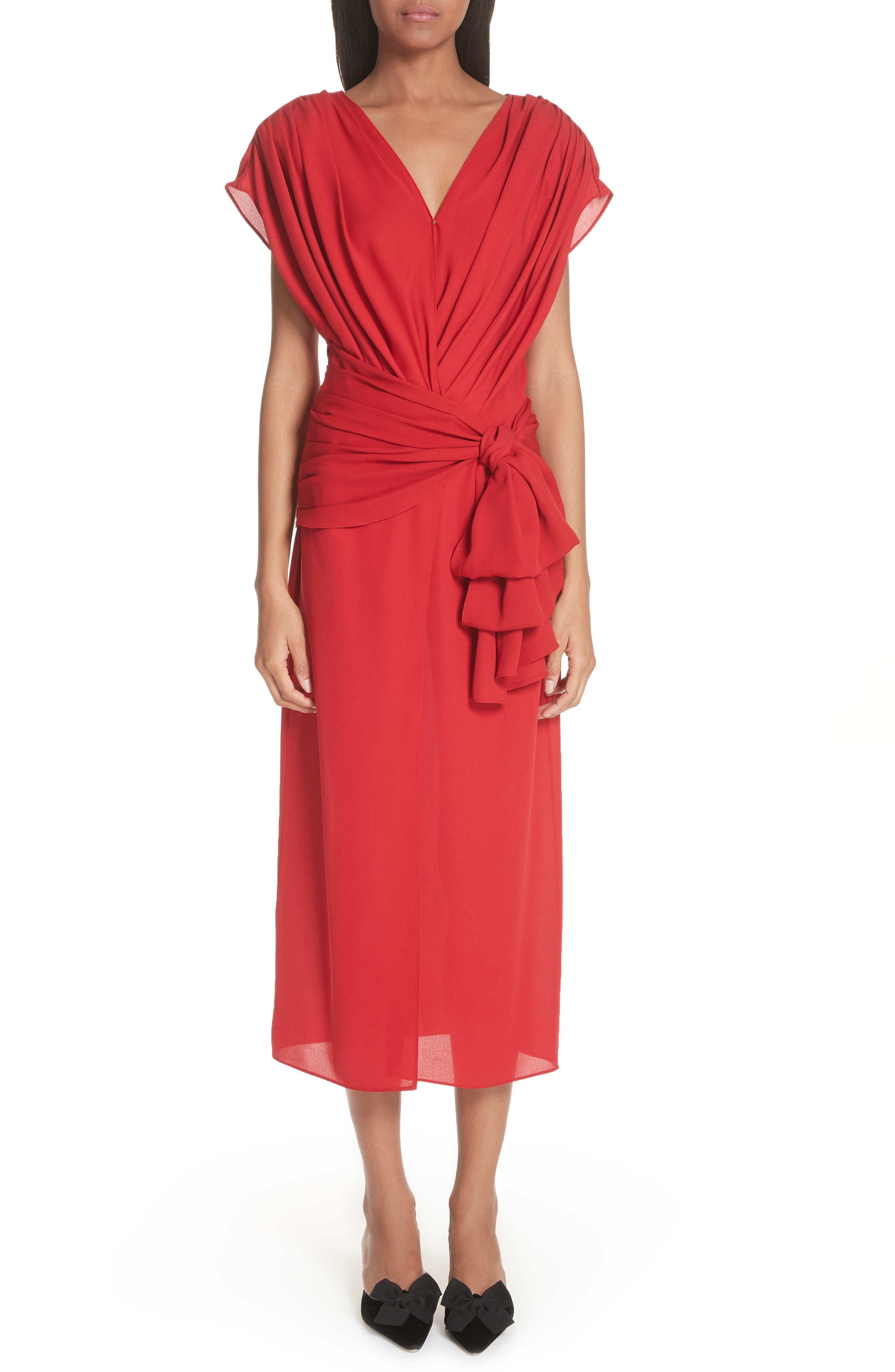 Tie Waist Silk Dress,                             Main thumbnail 1, color,                             Red