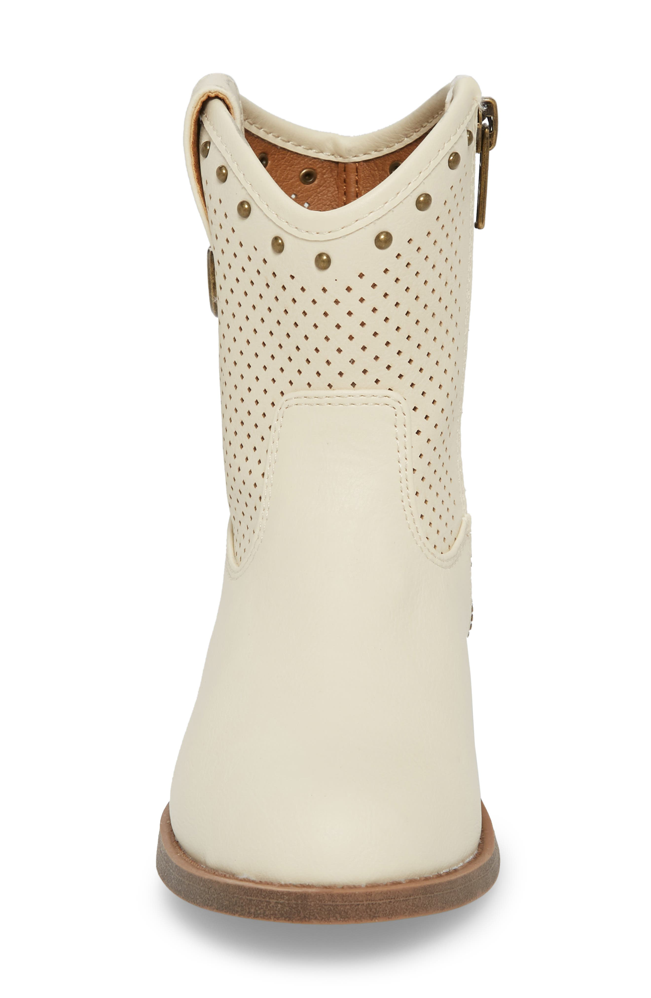 Melissa Perforated Button Boot,                             Alternate thumbnail 4, color,                             White