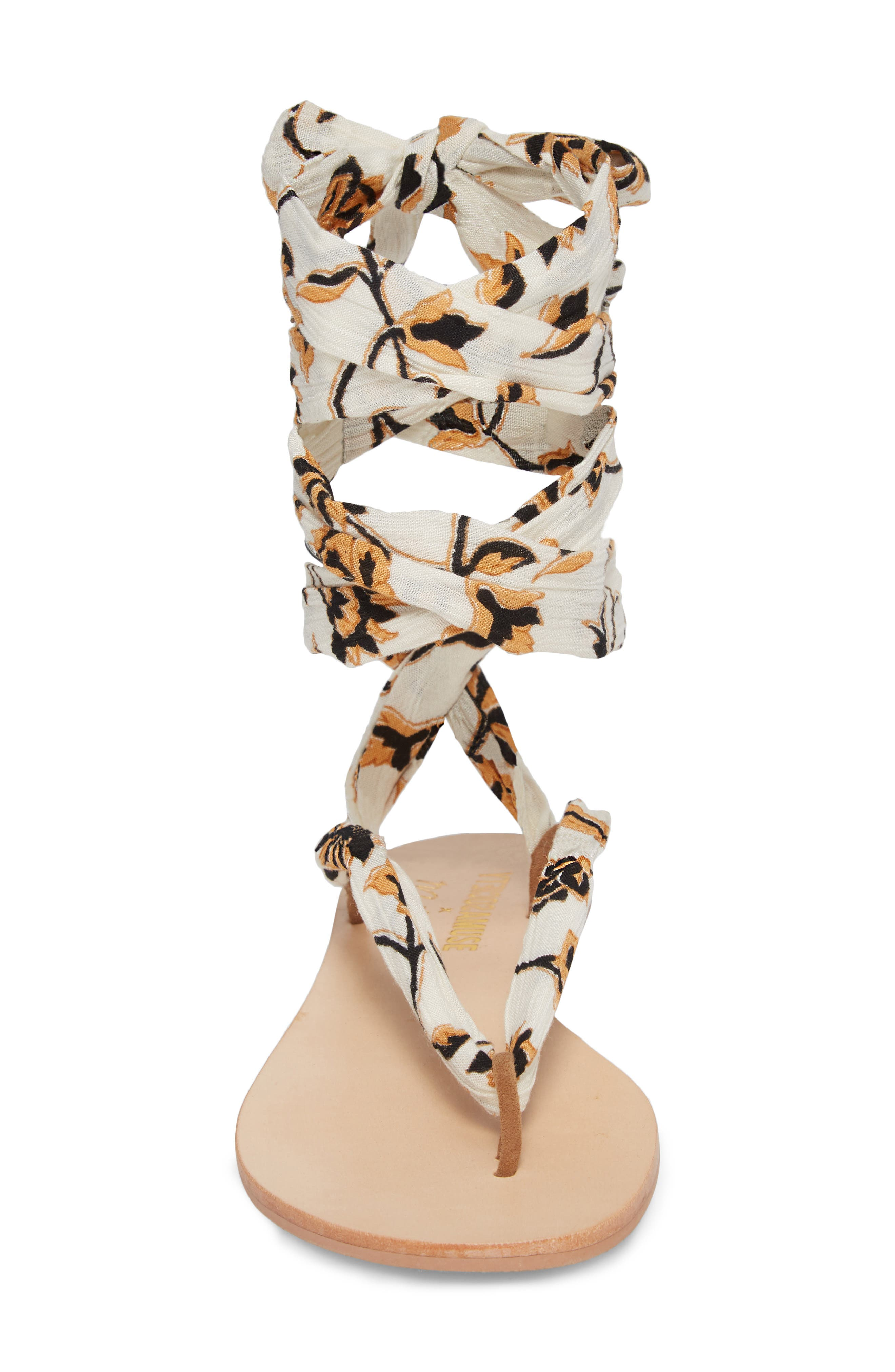 Amuse Society x Matisse Oceano Lace-Up Sandal,                             Alternate thumbnail 4, color,                             Natural Fabric