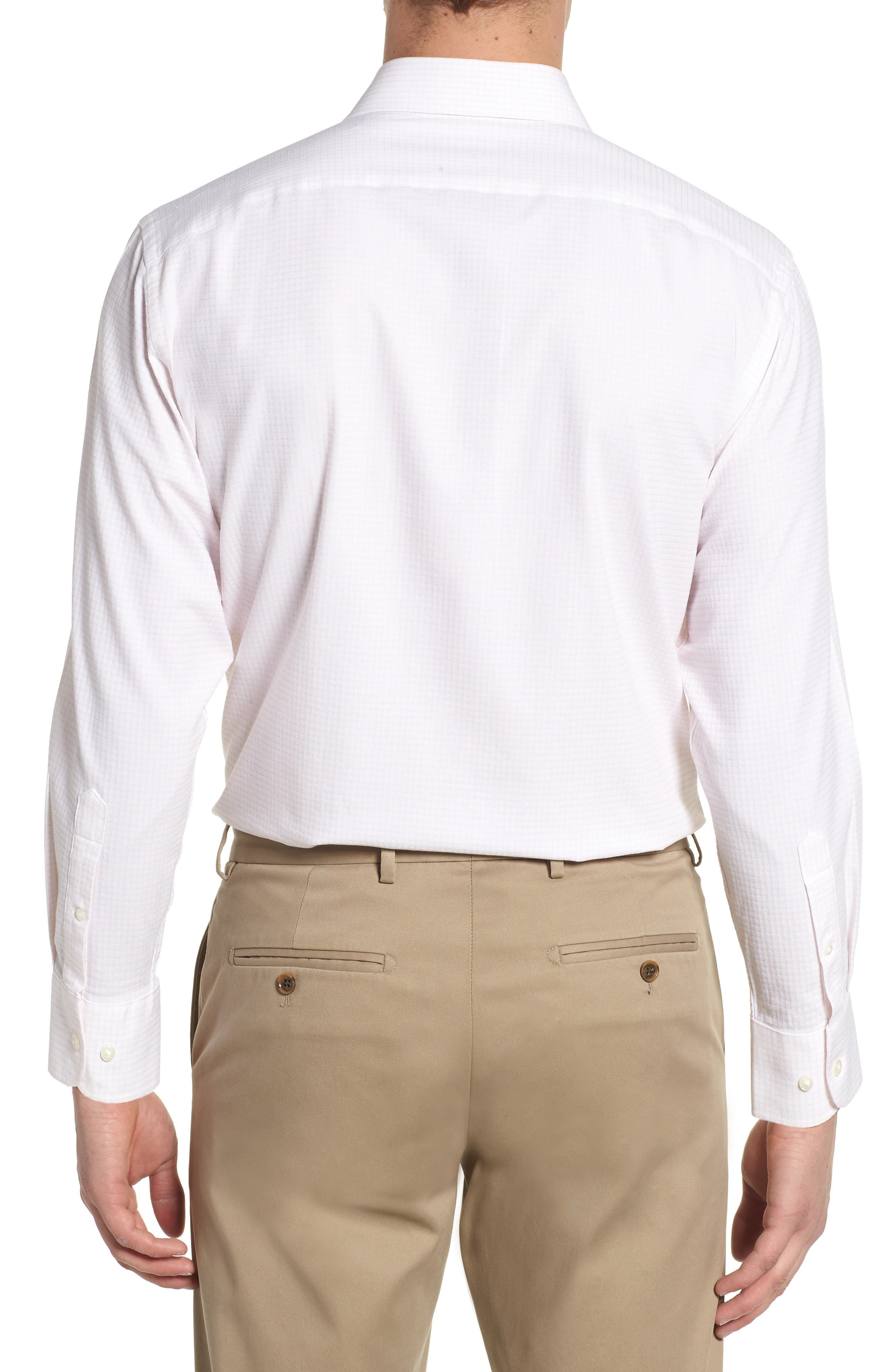 Tech-Smart Traditional Fit Stretch Tattersall Dress Shirt,                             Alternate thumbnail 3, color,                             Pink Breath