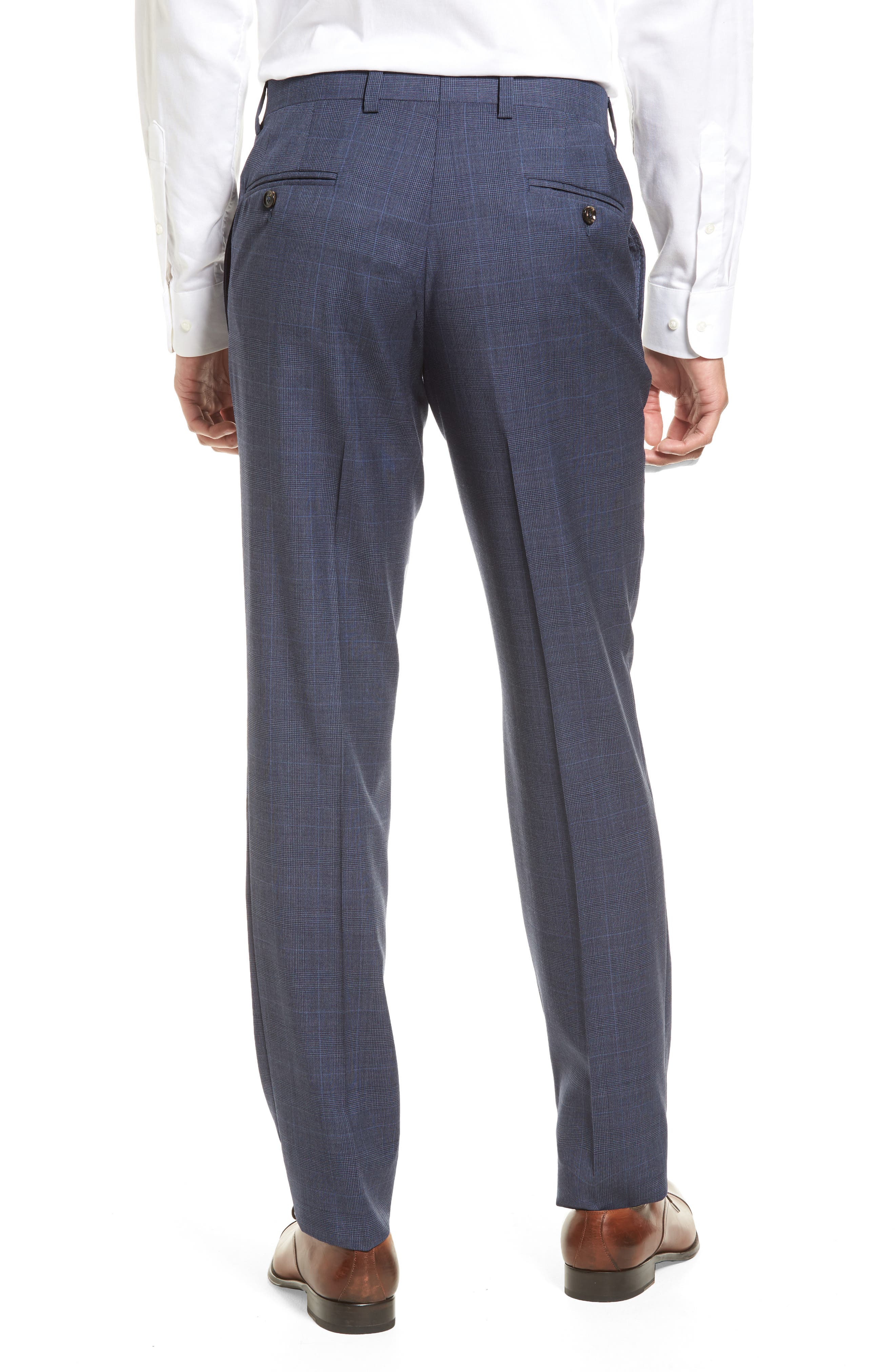 Jefferson Flat Front Wool Trousers,                             Alternate thumbnail 2, color,                             Blue