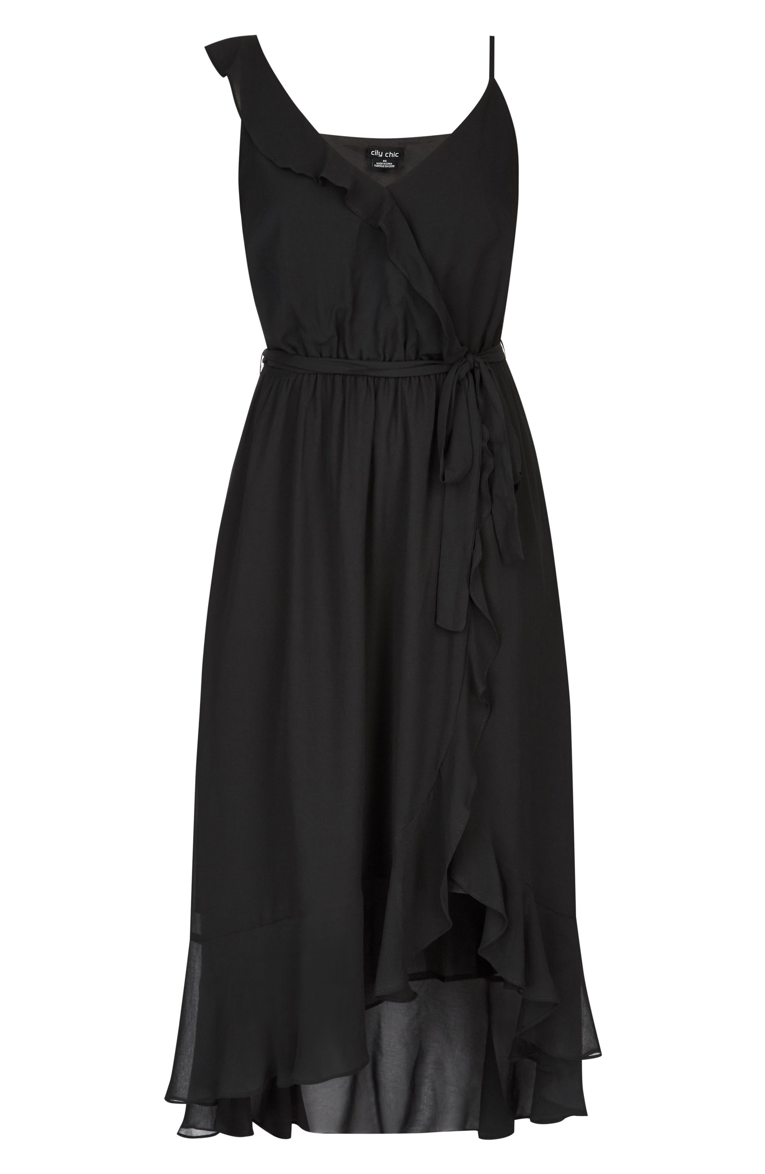 Flirty Detail Midi Wrap Dress,                             Alternate thumbnail 4, color,                             Black