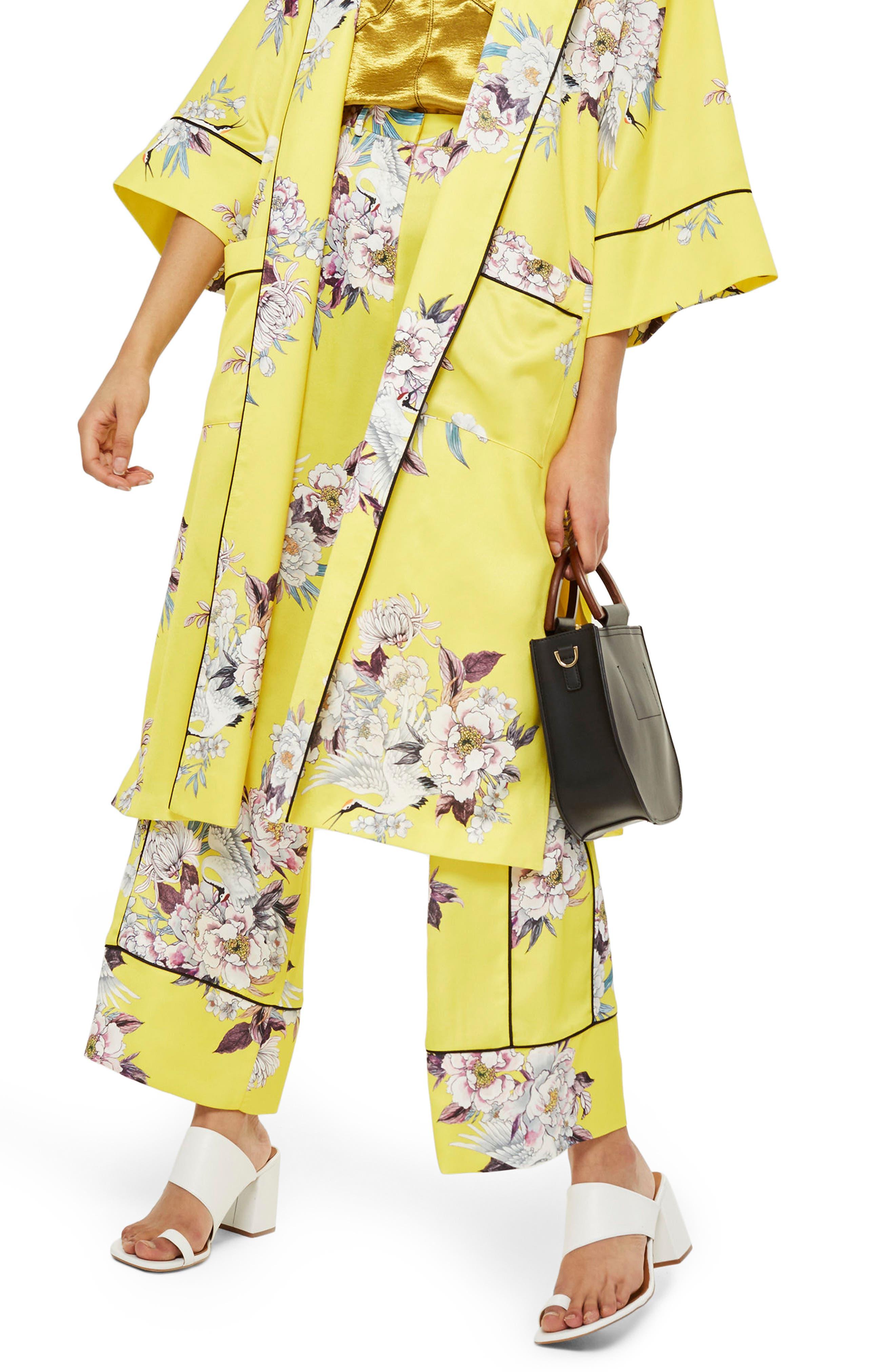 Heron Pajama Wide Leg Trousers,                             Main thumbnail 1, color,                             Yellow Multi