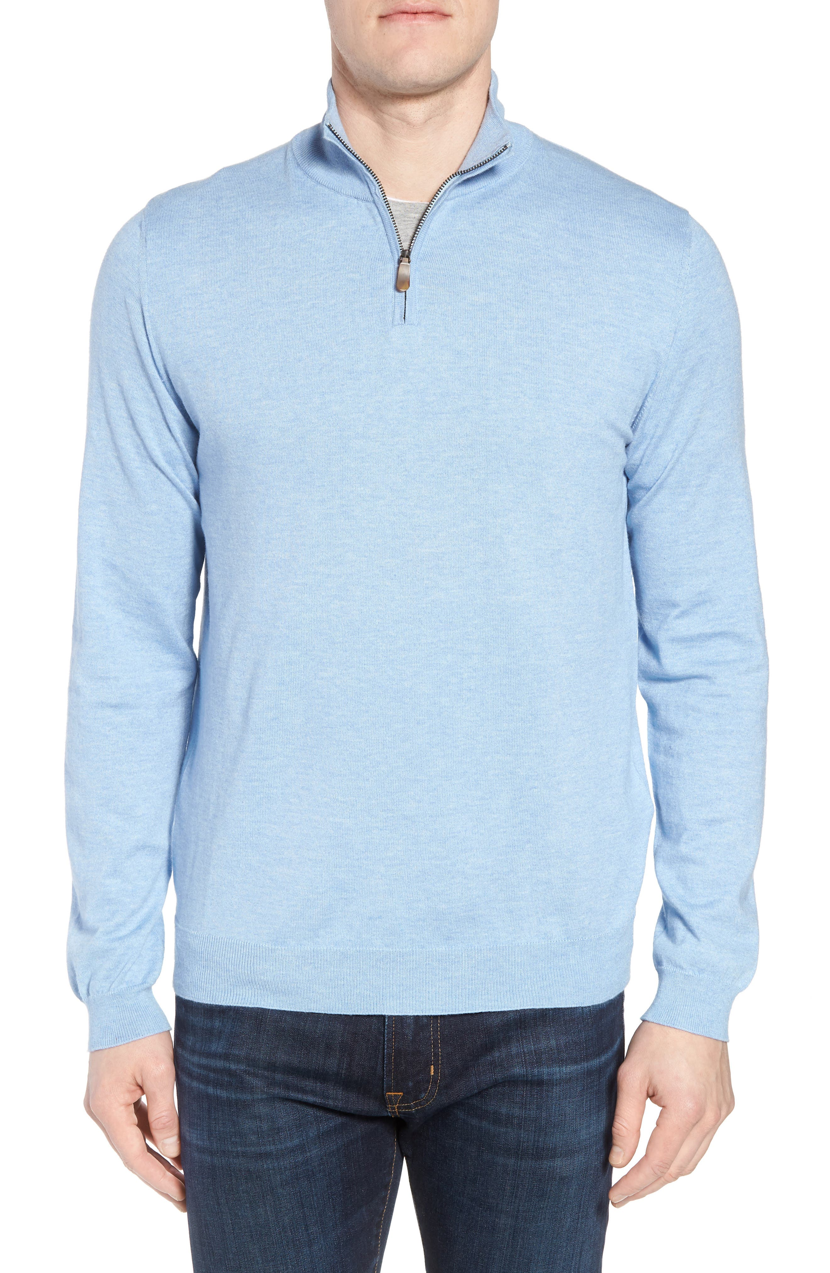Cotton & Silk Quarter Zip Pullover,                         Main,                         color, Sky
