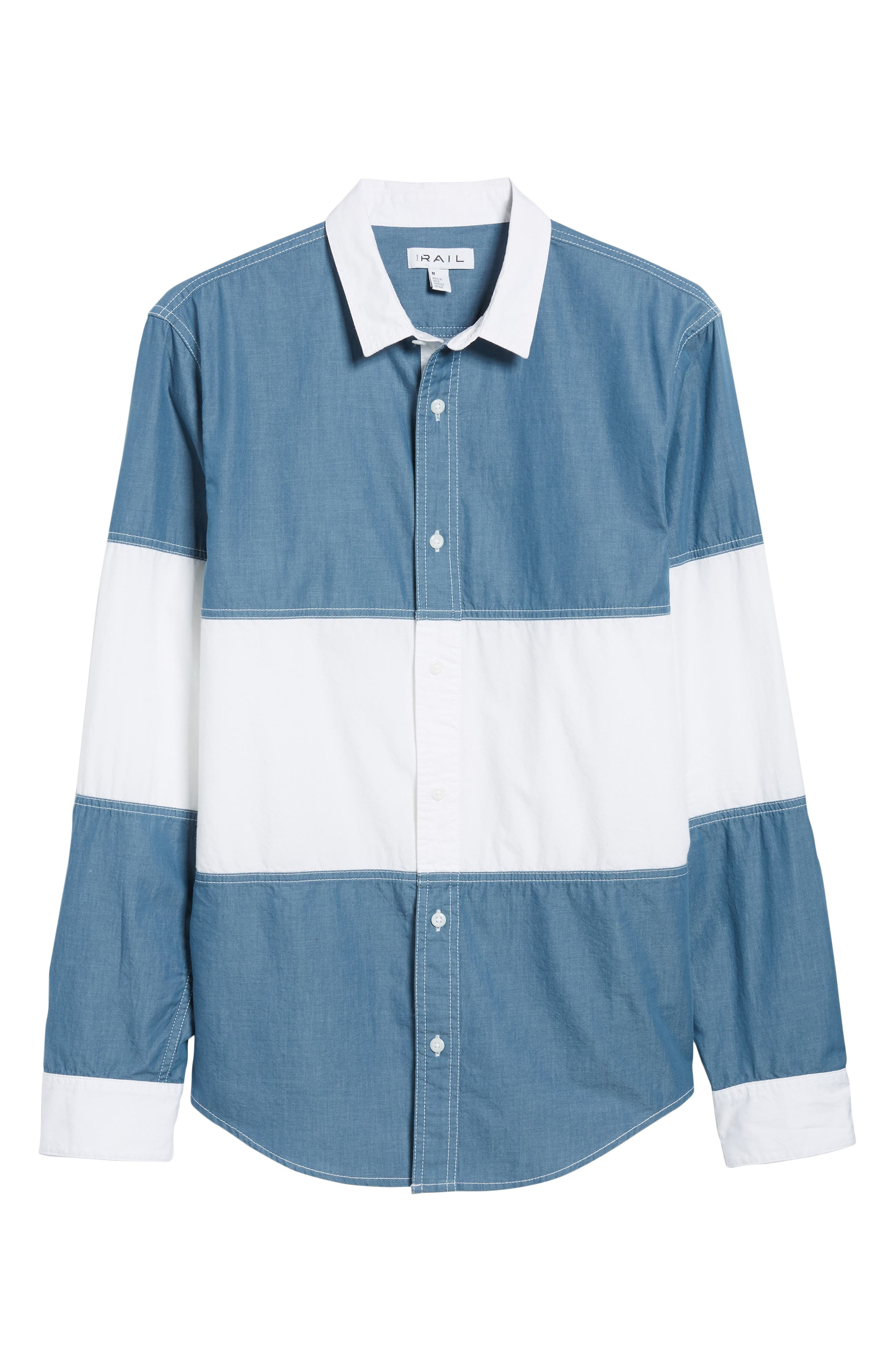 Colorblock Woven Shirt,                             Alternate thumbnail 6, color,                             Chambray White Block