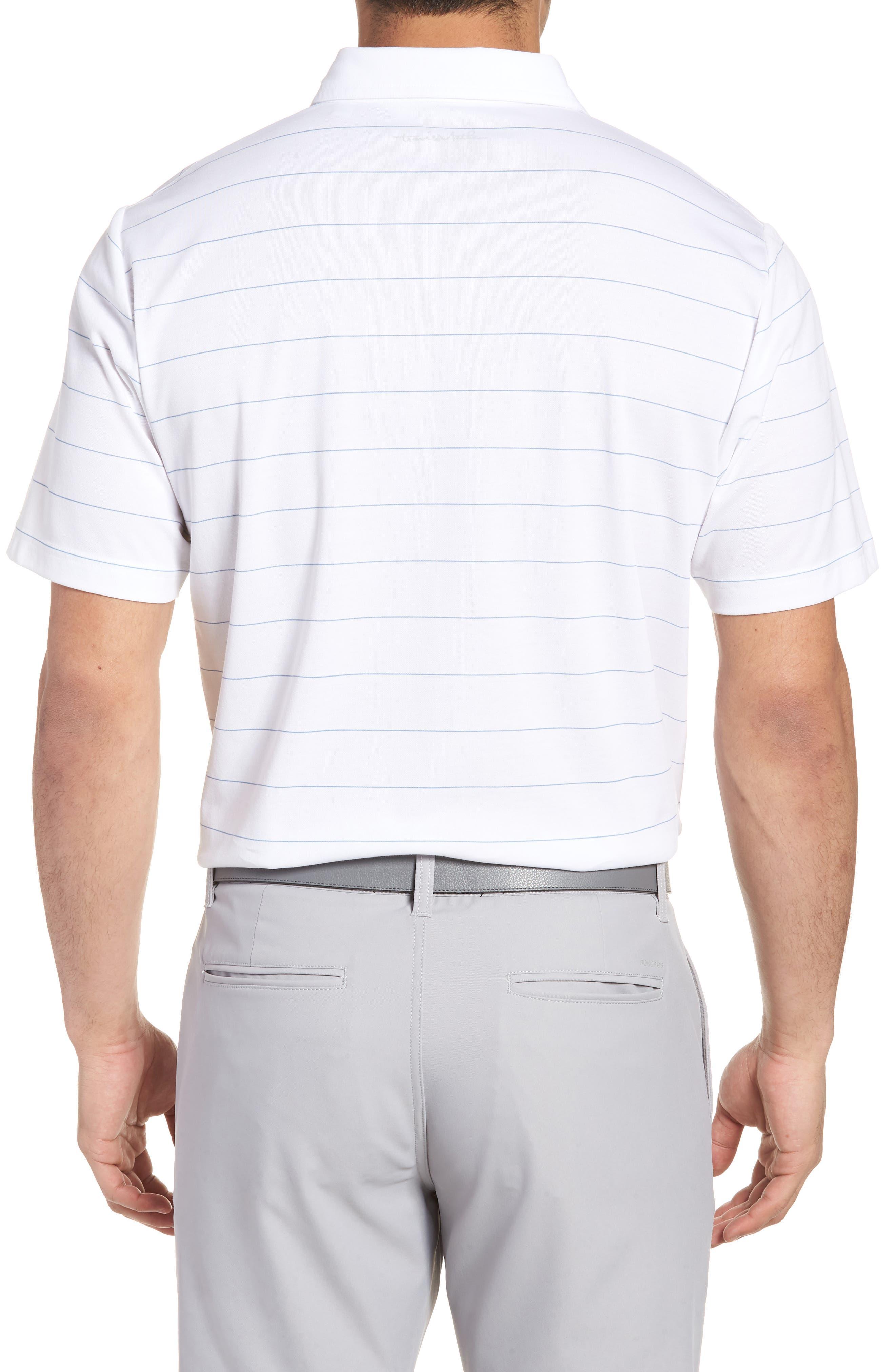 Stripe Cotton Blend Polo,                             Alternate thumbnail 2, color,                             White