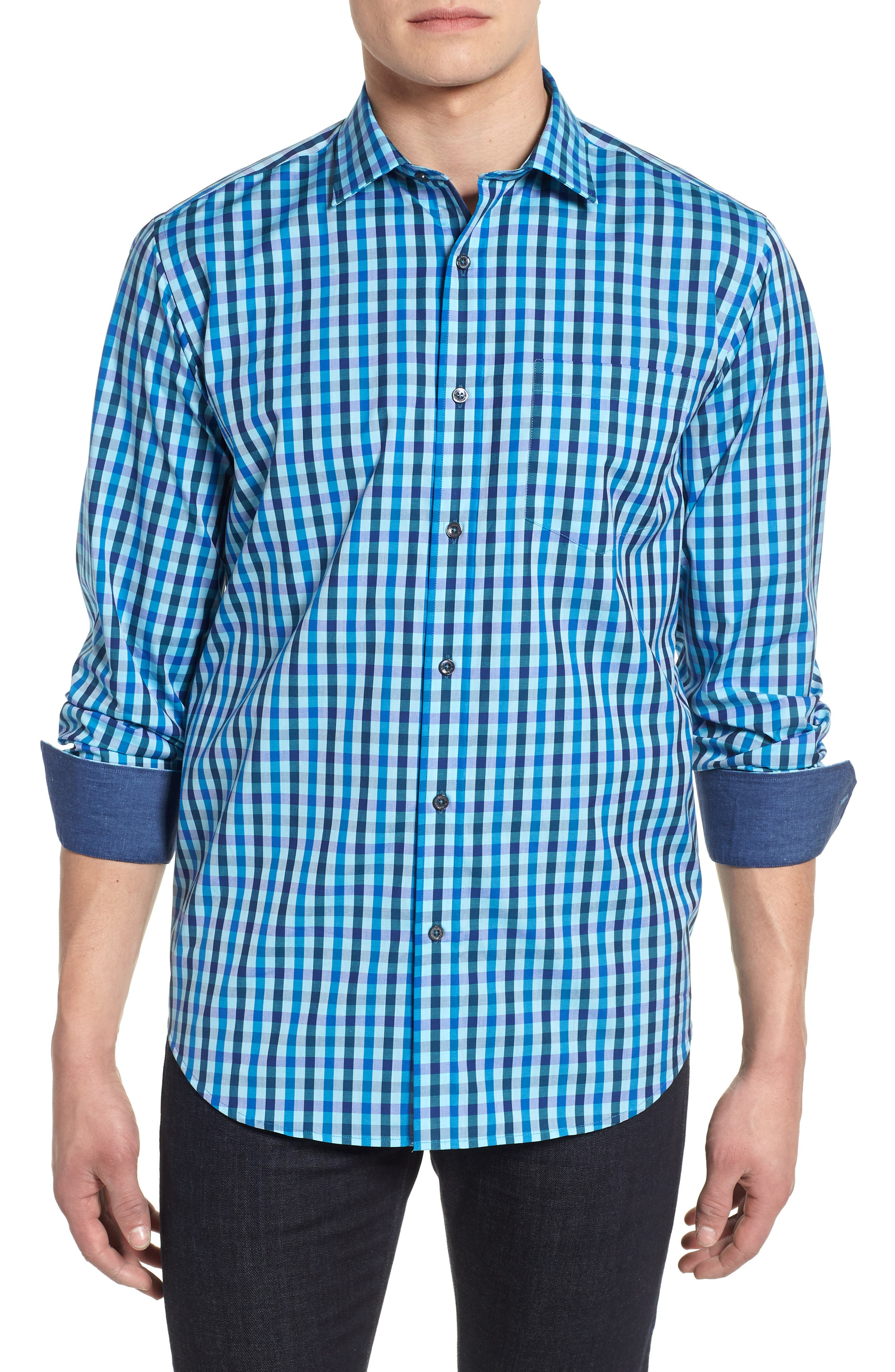 Classic Fit Woven Sport Shirt,                             Main thumbnail 1, color,                             Turquoise