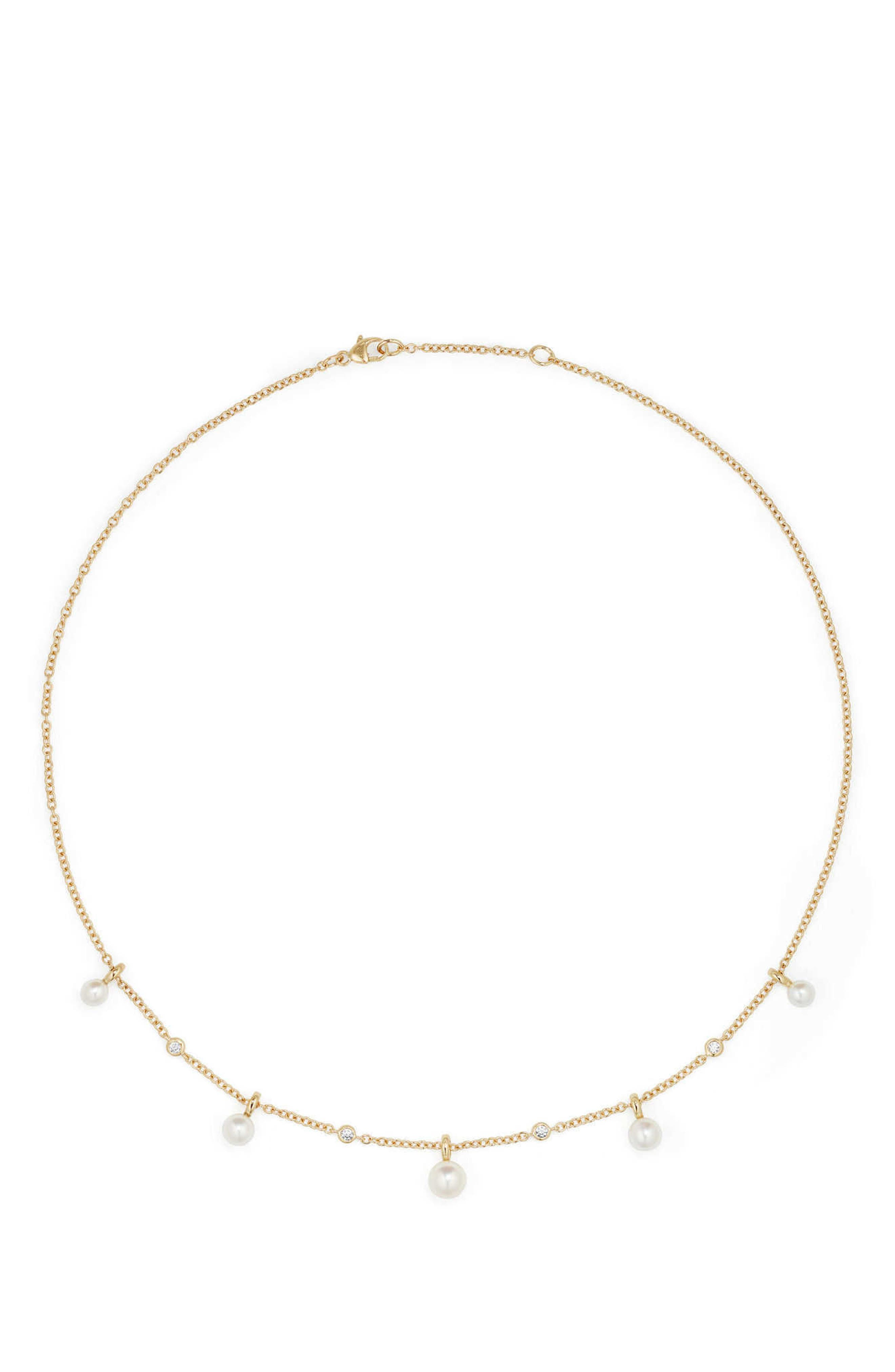 Petite Perle Pearl & Diamond Fringe Necklace in 18k Gold,                             Main thumbnail 1, color,                             Gold/ Diamond/ Pearl