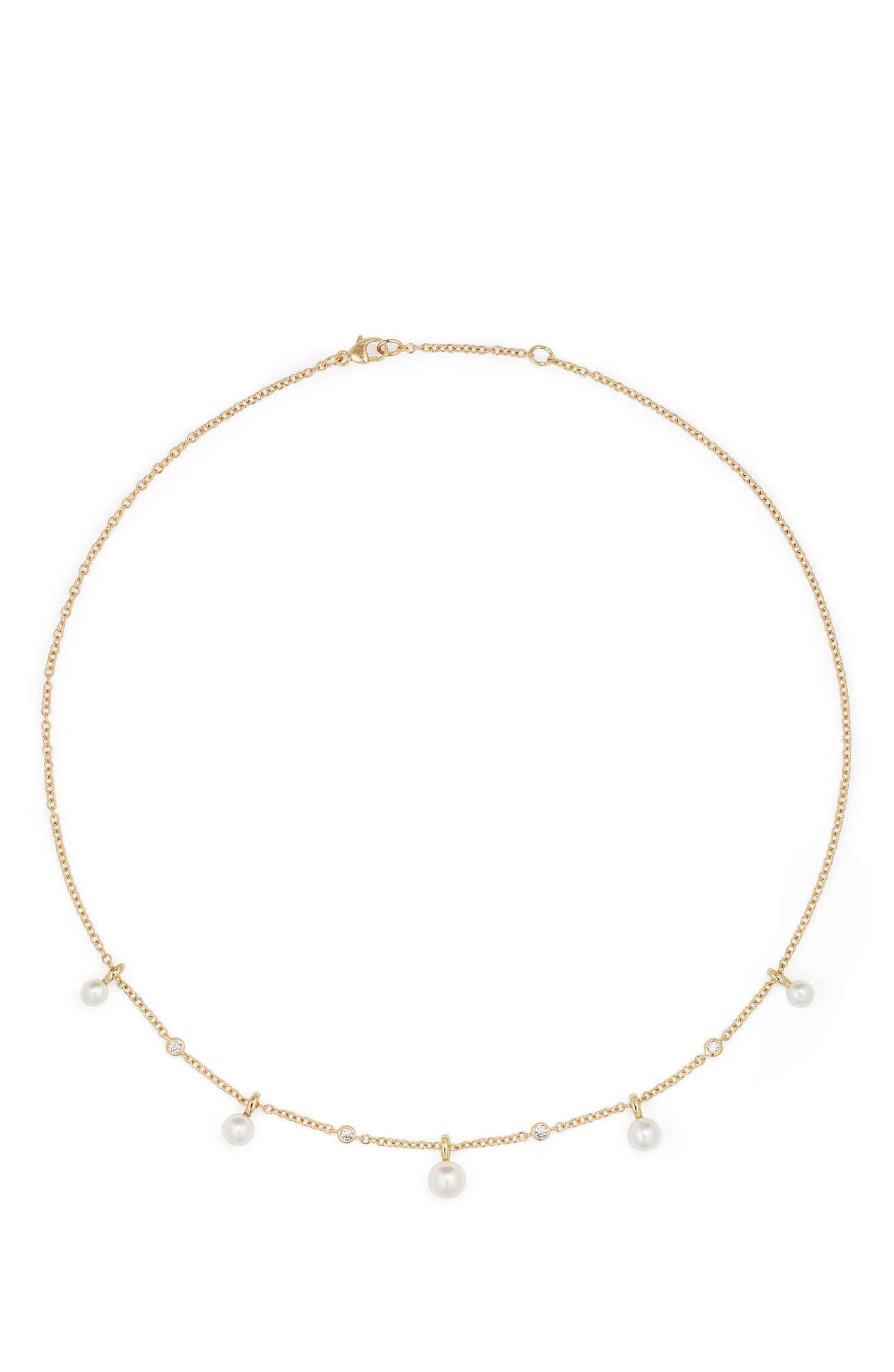Petite Perle Pearl & Diamond Fringe Necklace in 18k Gold,                         Main,                         color, Gold/ Diamond/ Pearl