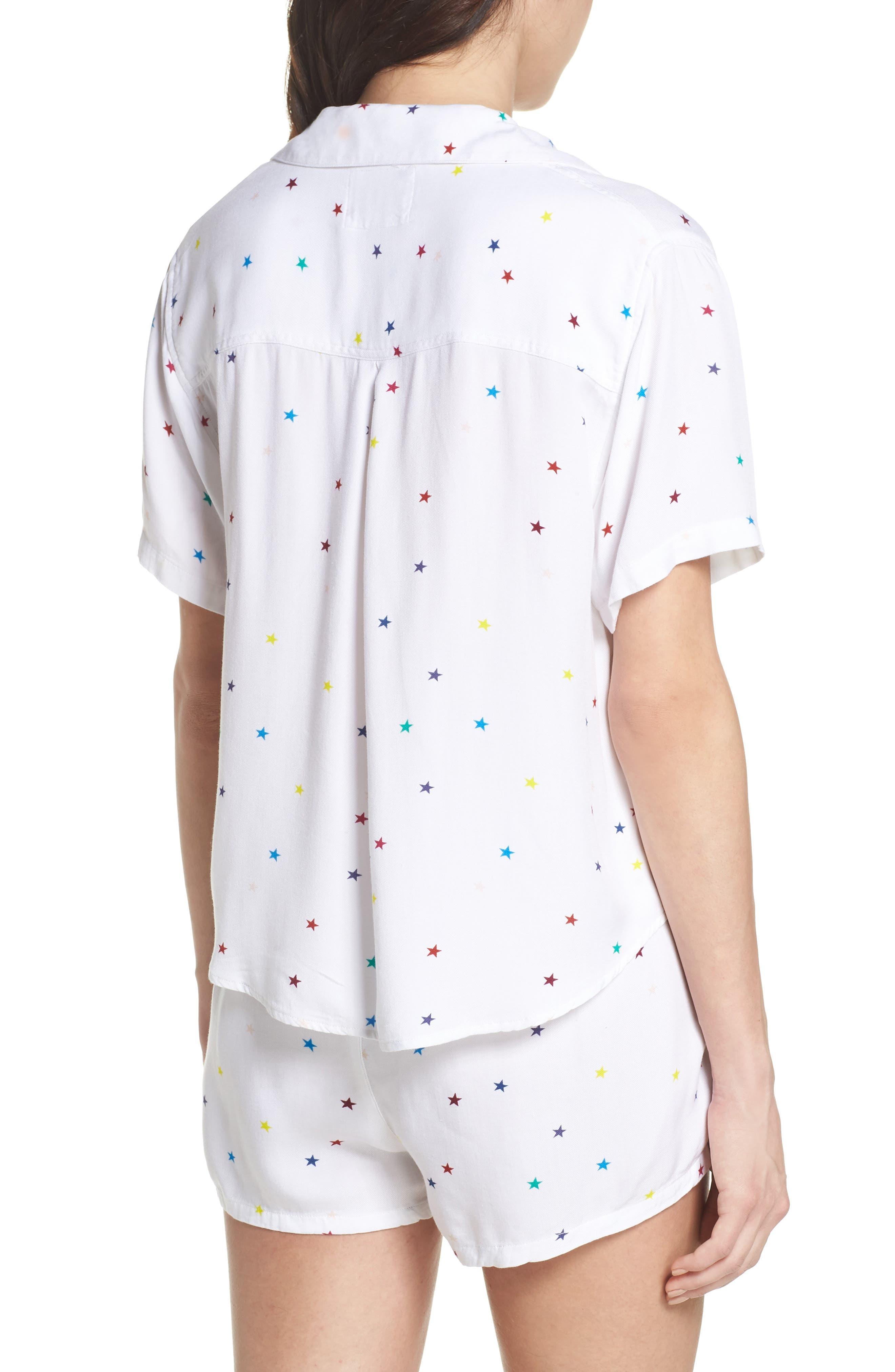 Star Print Short Pajamas,                             Alternate thumbnail 2, color,                             Rainbow Stars On White