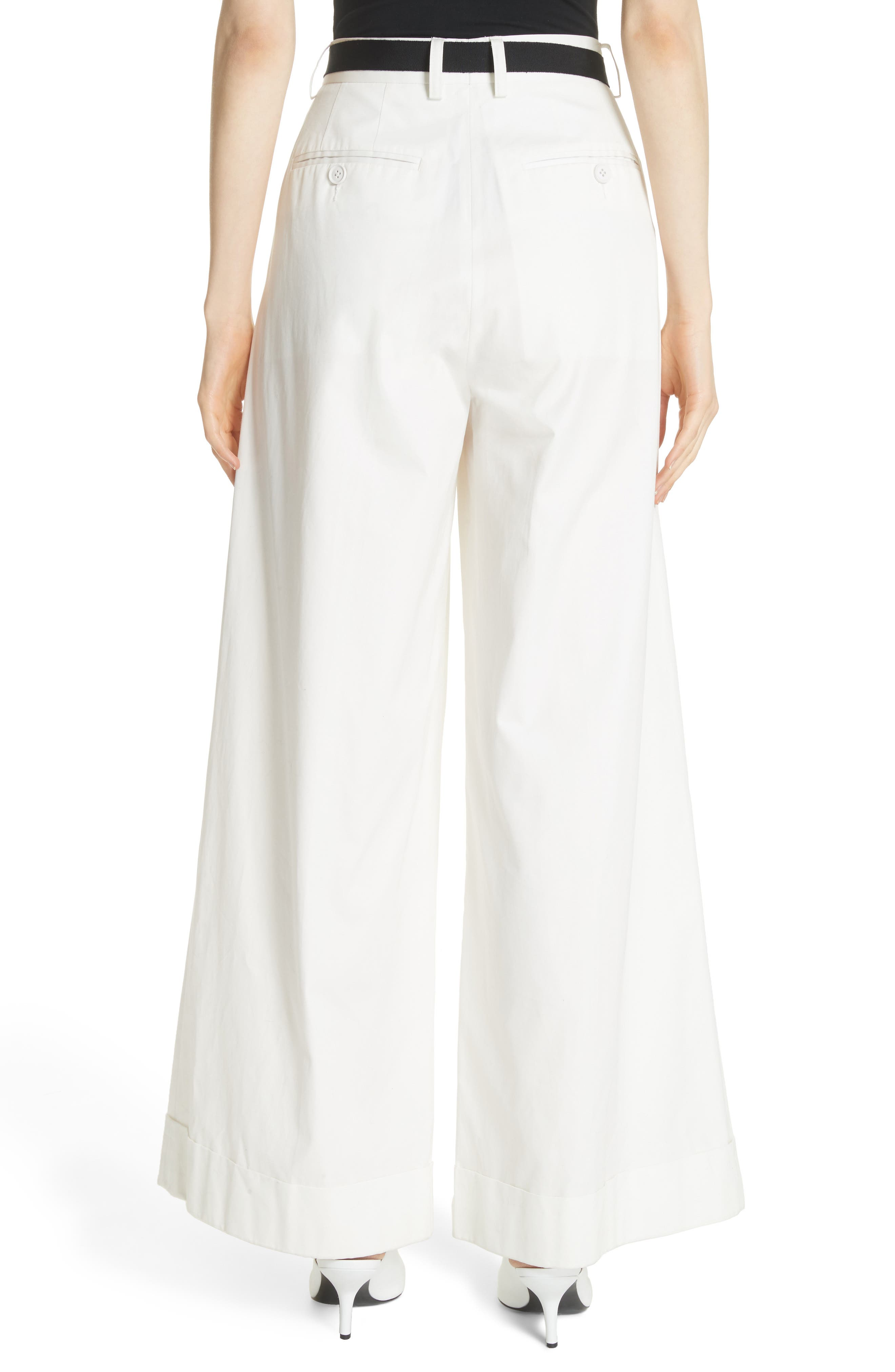 High Waist Wide Leg Pants,                             Alternate thumbnail 4, color,                             Ivory