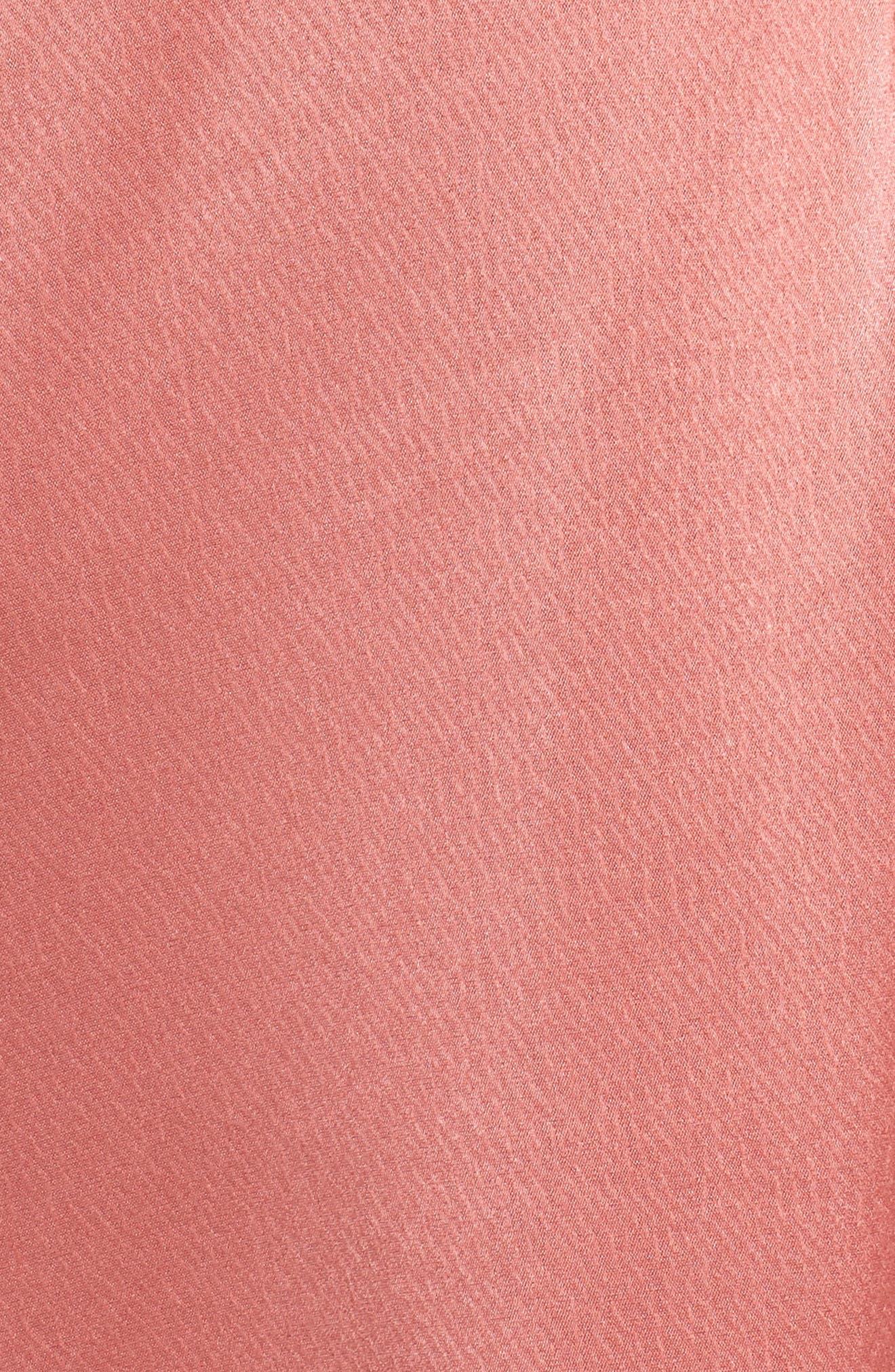 Faux Wrap Satin Gown,                             Alternate thumbnail 5, color,                             Rosewood