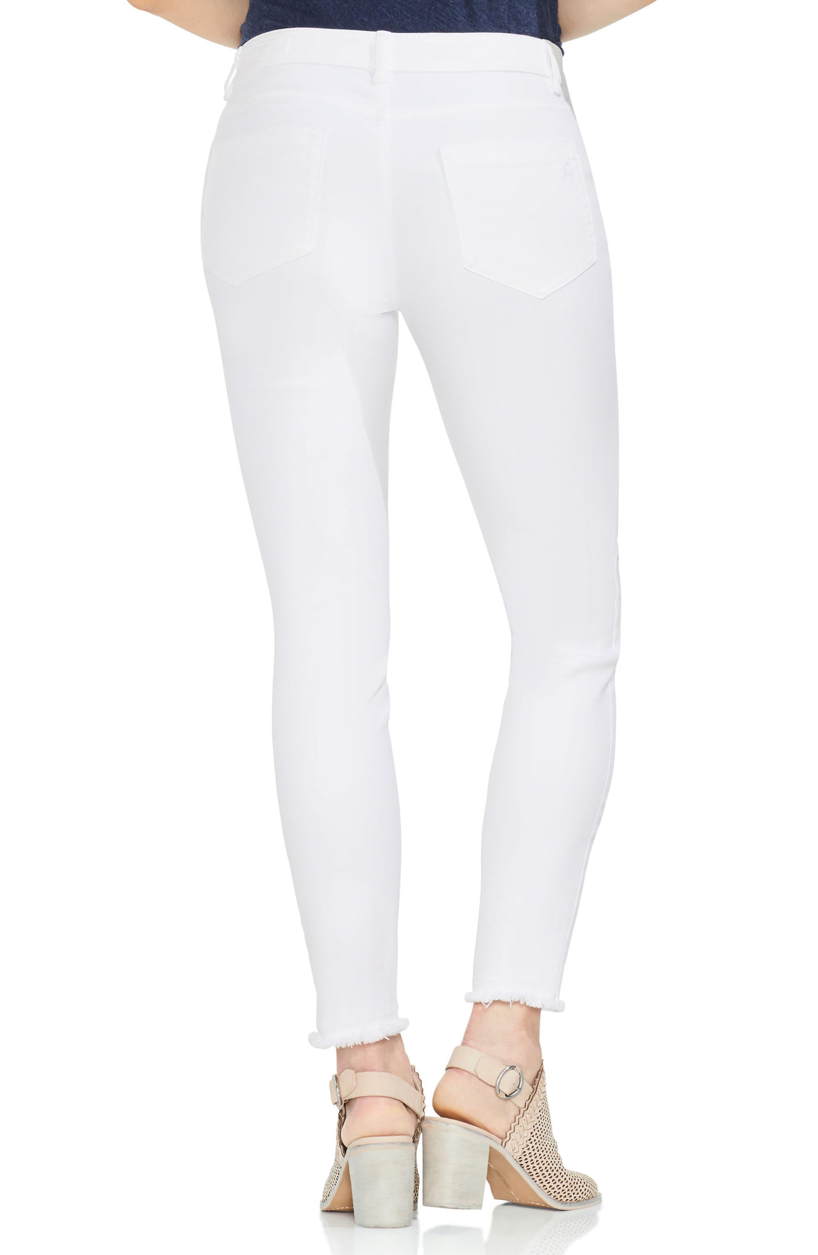 Fray Hem Skinny Jeans,                             Alternate thumbnail 2, color,                             Ultra White