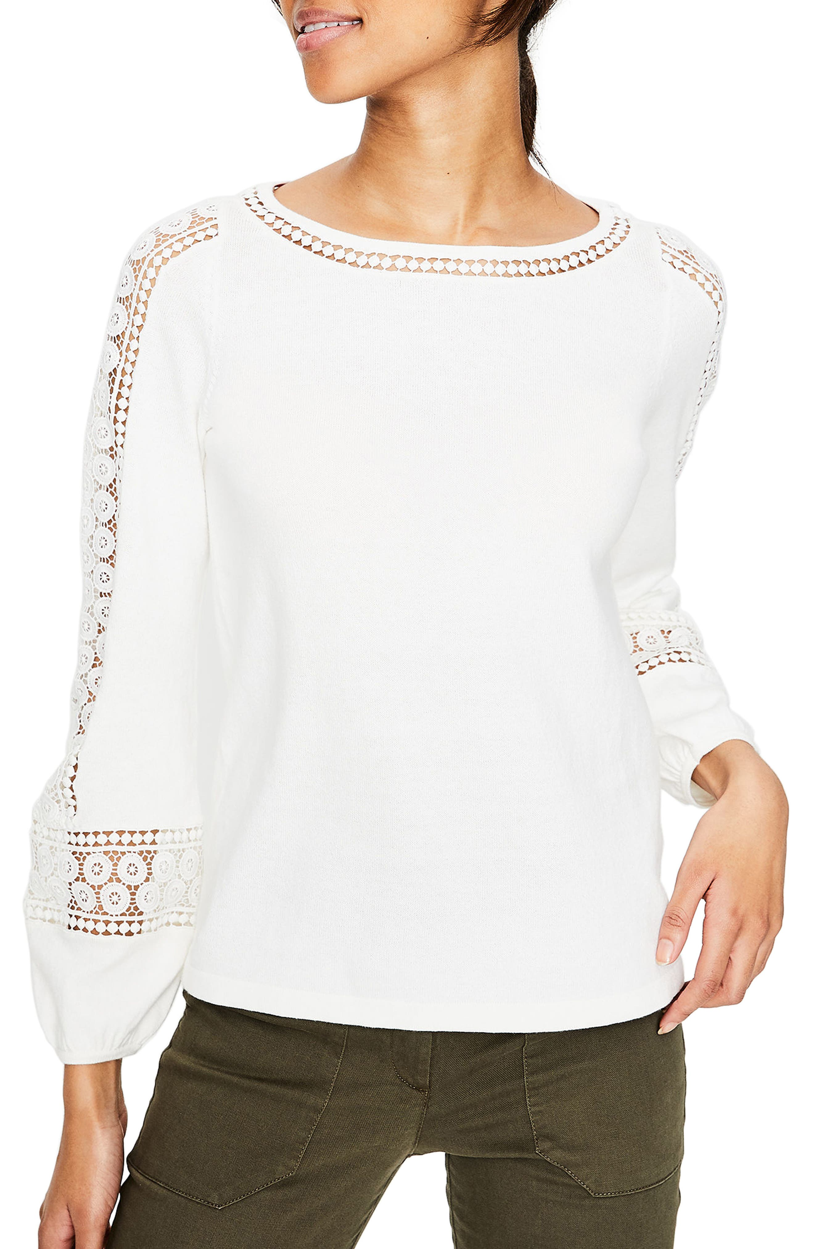 Lace Inset Cotton Sweater,                             Main thumbnail 1, color,                             Ivory