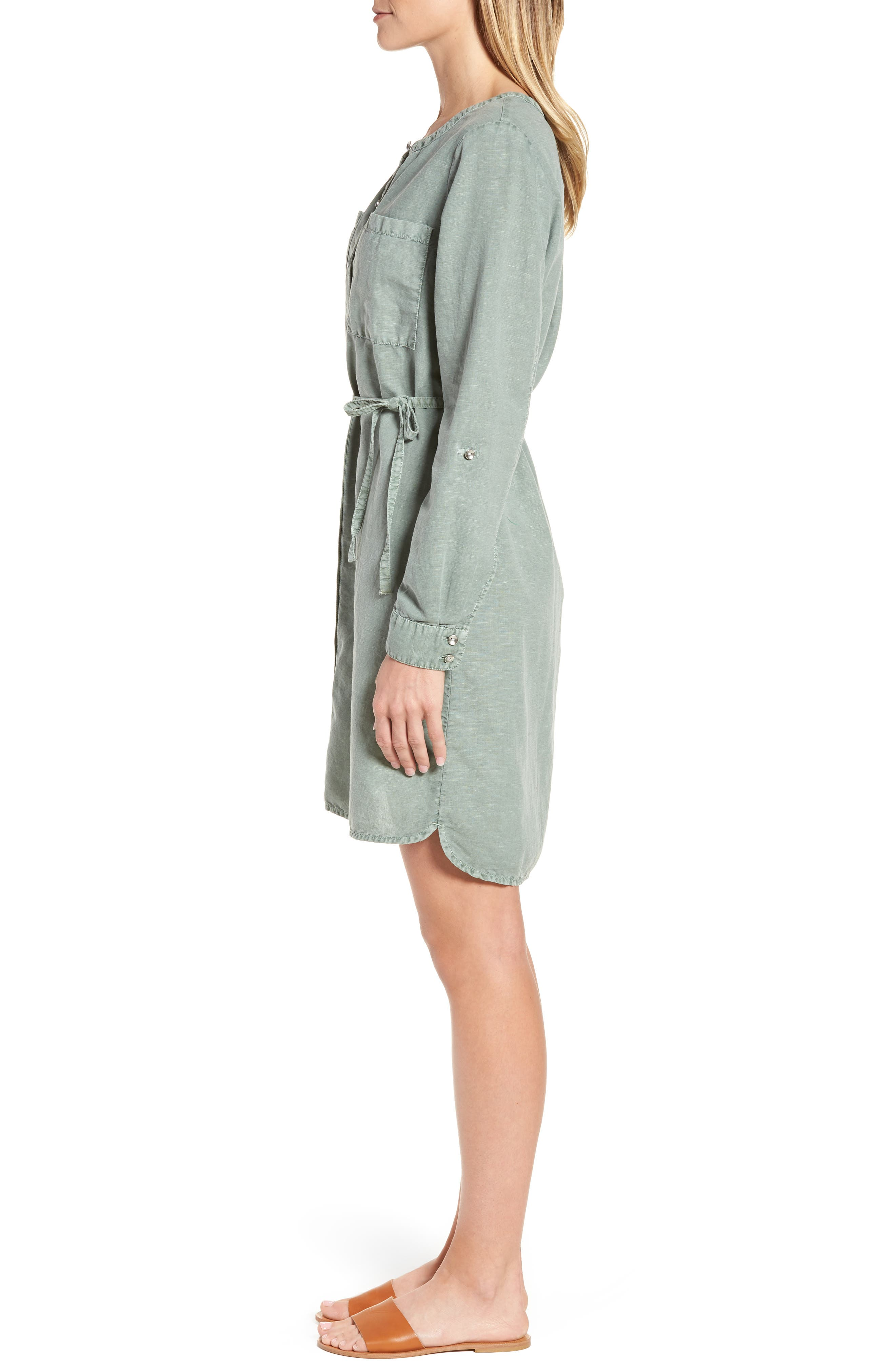 Linen Cotton Shirtdress,                             Alternate thumbnail 3, color,                             Green Lilypad