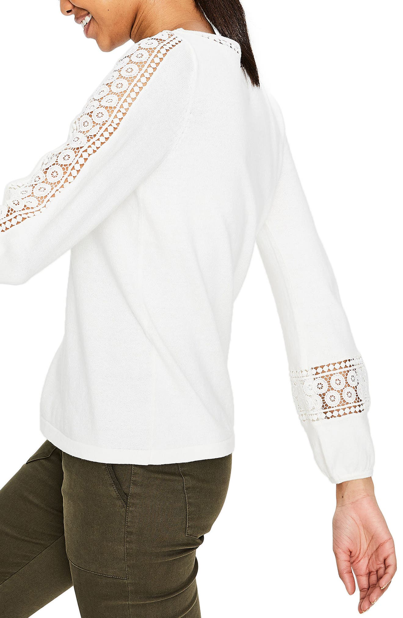 Lace Inset Cotton Sweater,                             Alternate thumbnail 3, color,                             Ivory