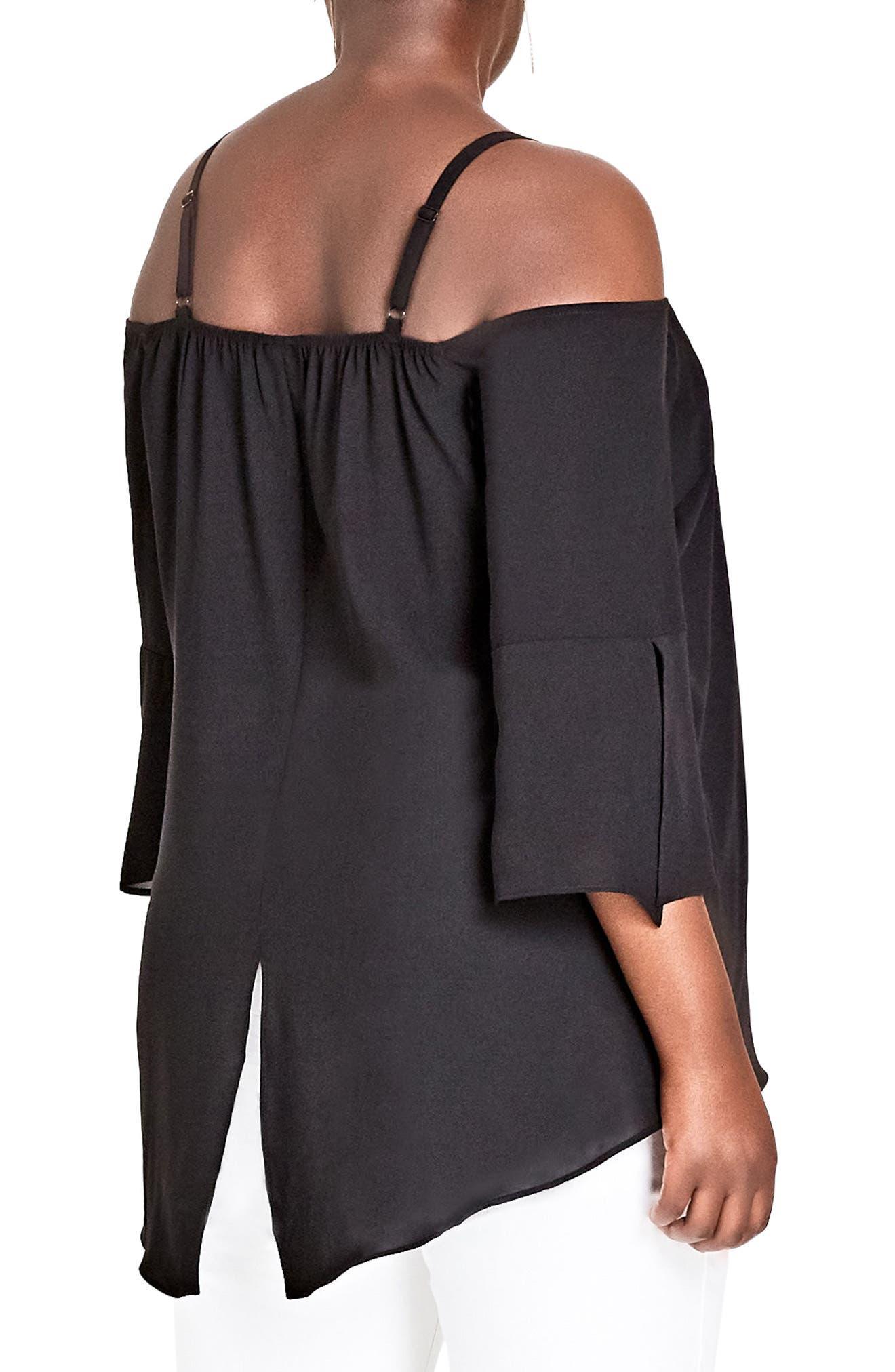 Alternate Image 2  - City Chic Split Sleeve Off the Shoulder Top (Plus Size)