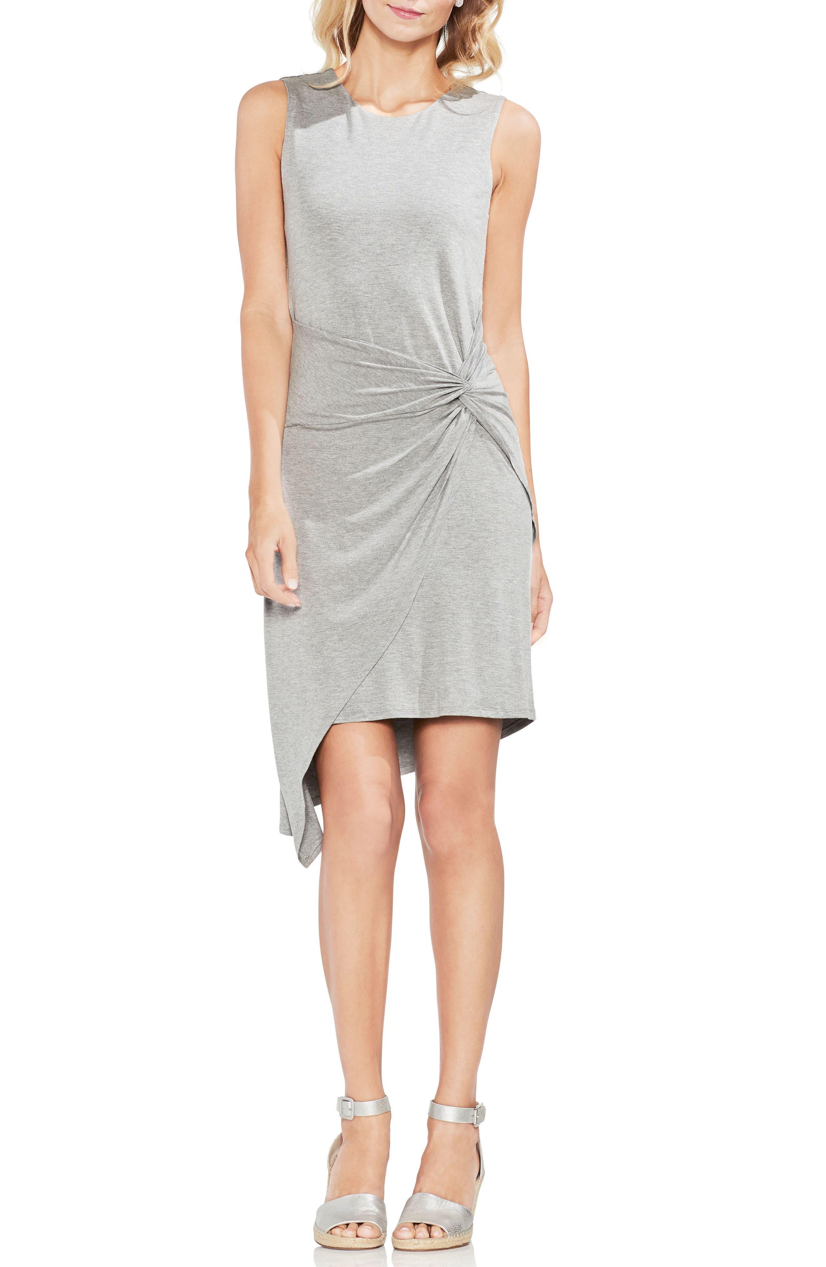 Twist Front Faux Wrap Dress,                         Main,                         color, Light Heather Grey