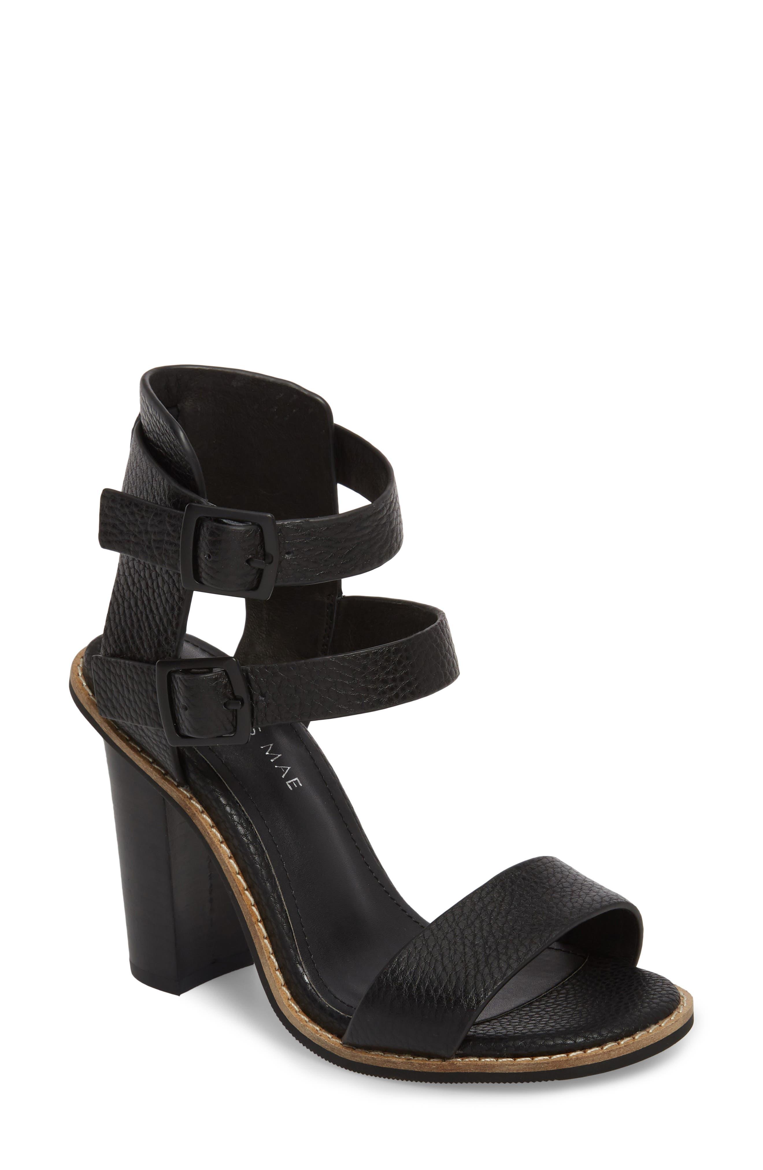 Casper Tall Sandal,                         Main,                         color, Black Leather