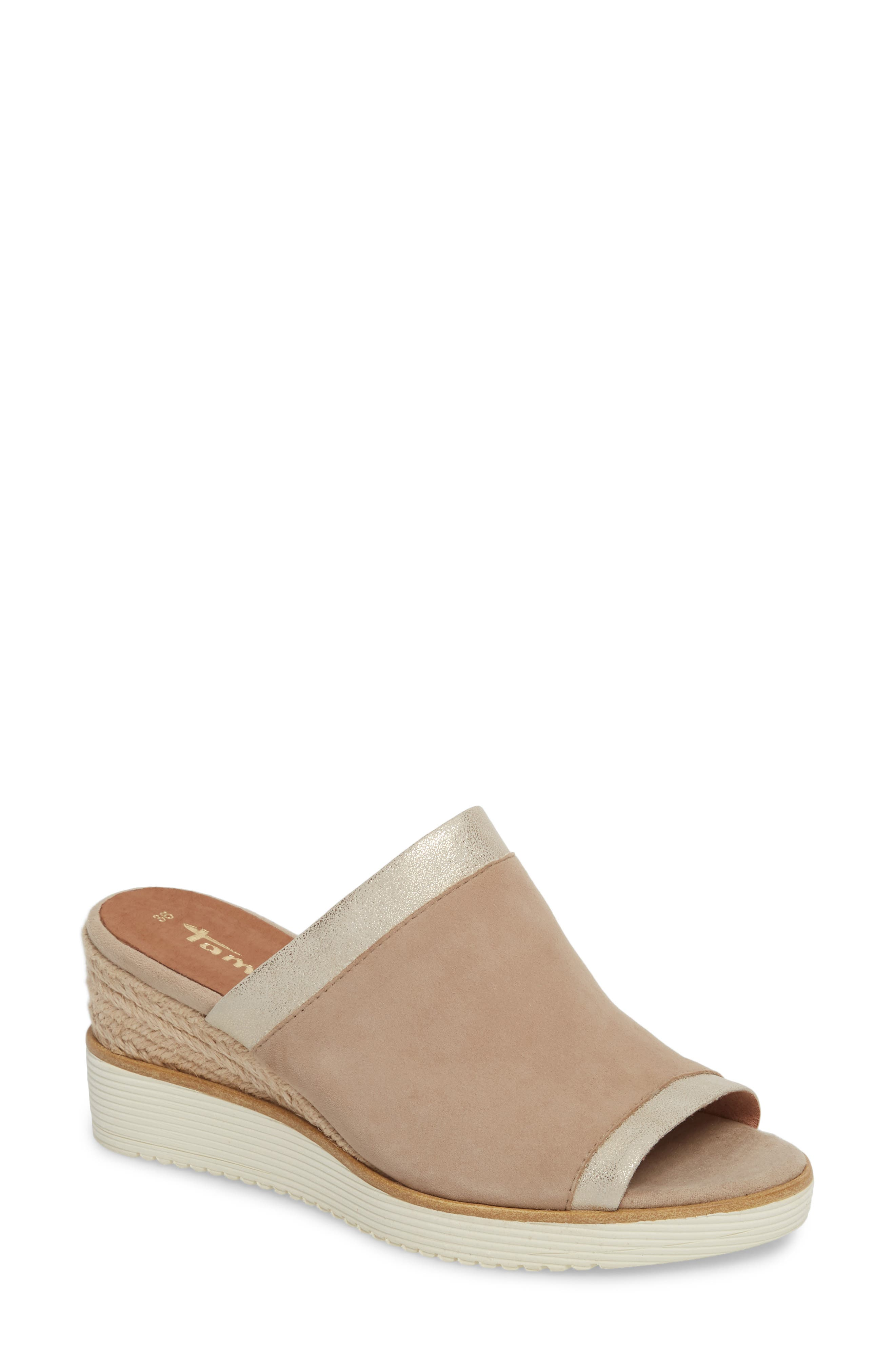 Alis Wedge Sandal,                         Main,                         color, Shell Leather