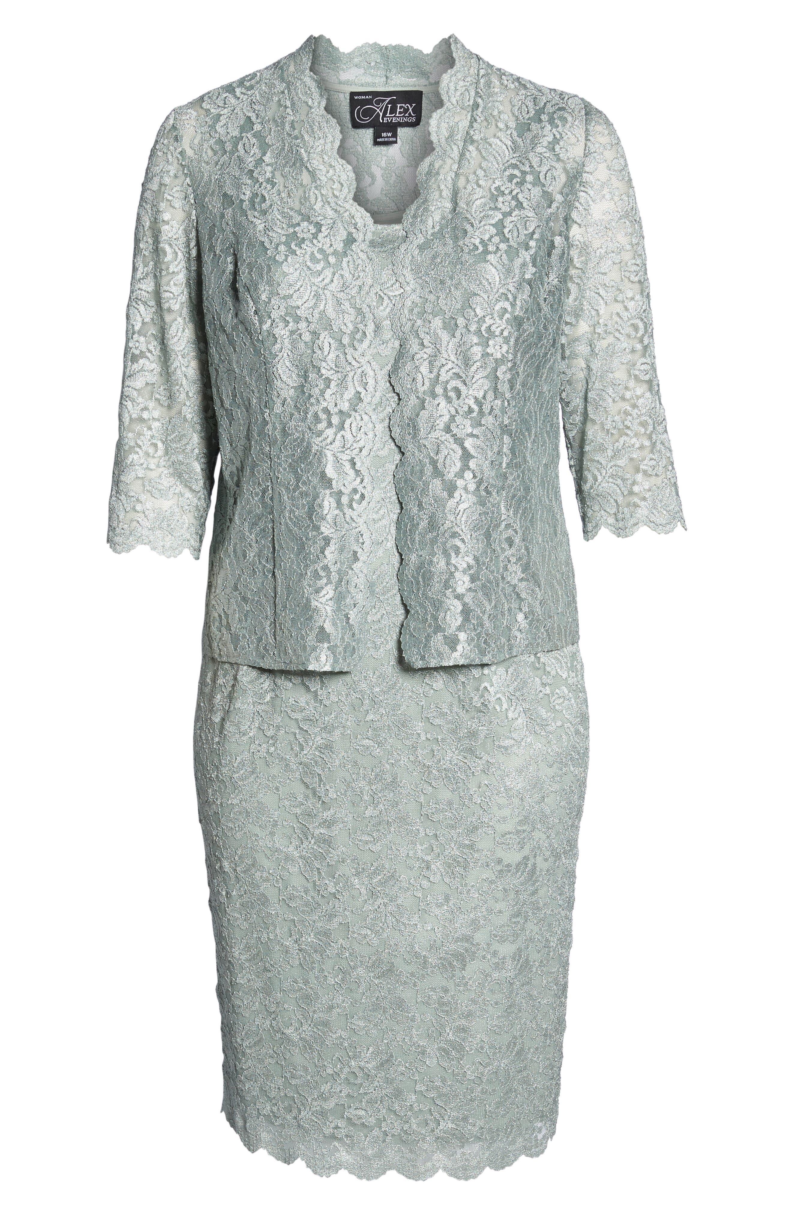 Lace Sheath Dress & Jacket,                             Alternate thumbnail 4, color,                             Ice Sage