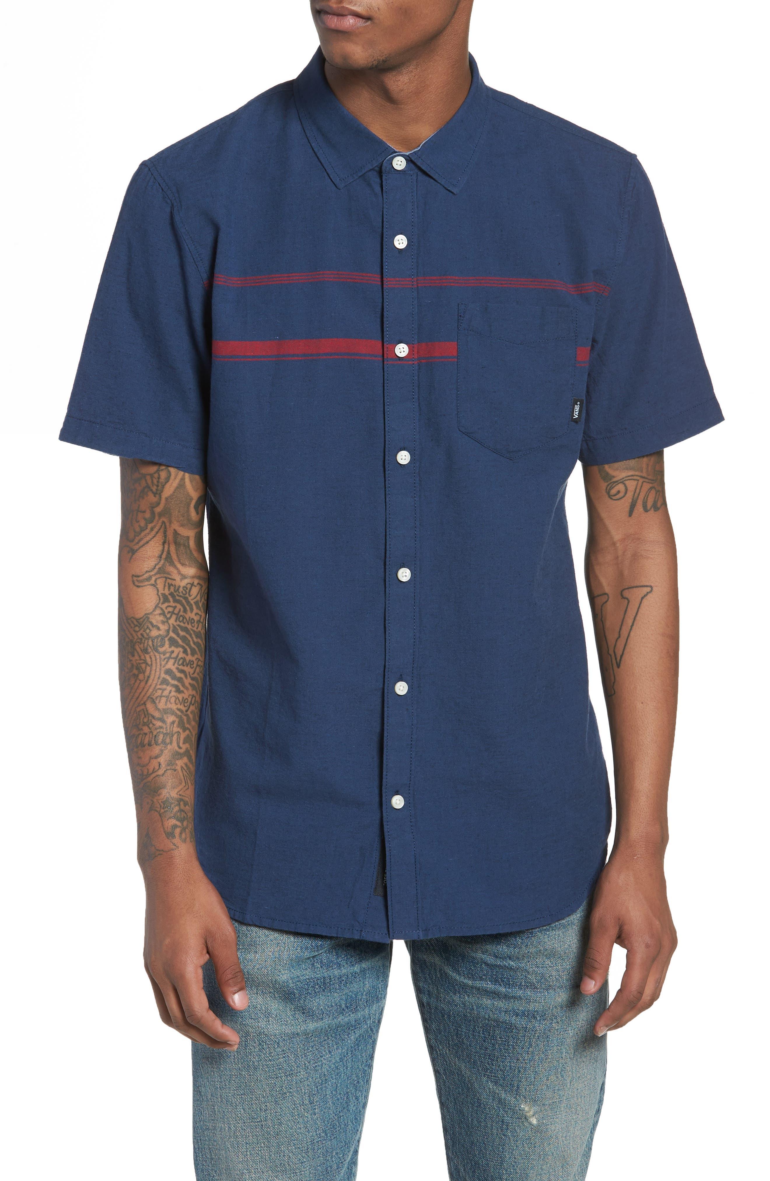 Thurber Short Sleeve Shirt,                             Main thumbnail 1, color,                             Dress Blues