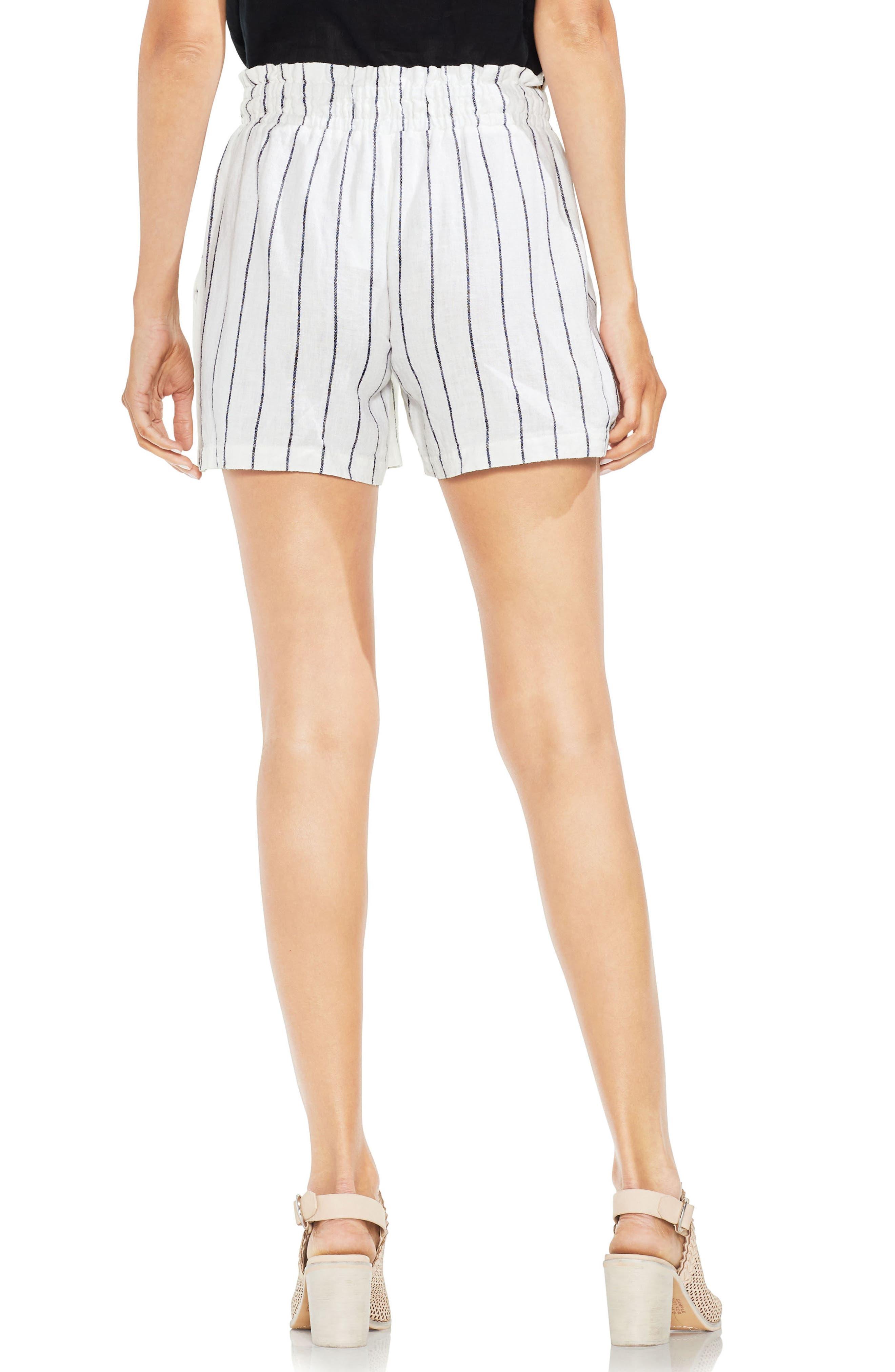 Linen Blend Stripe Shorts,                             Alternate thumbnail 2, color,                             Ultra White