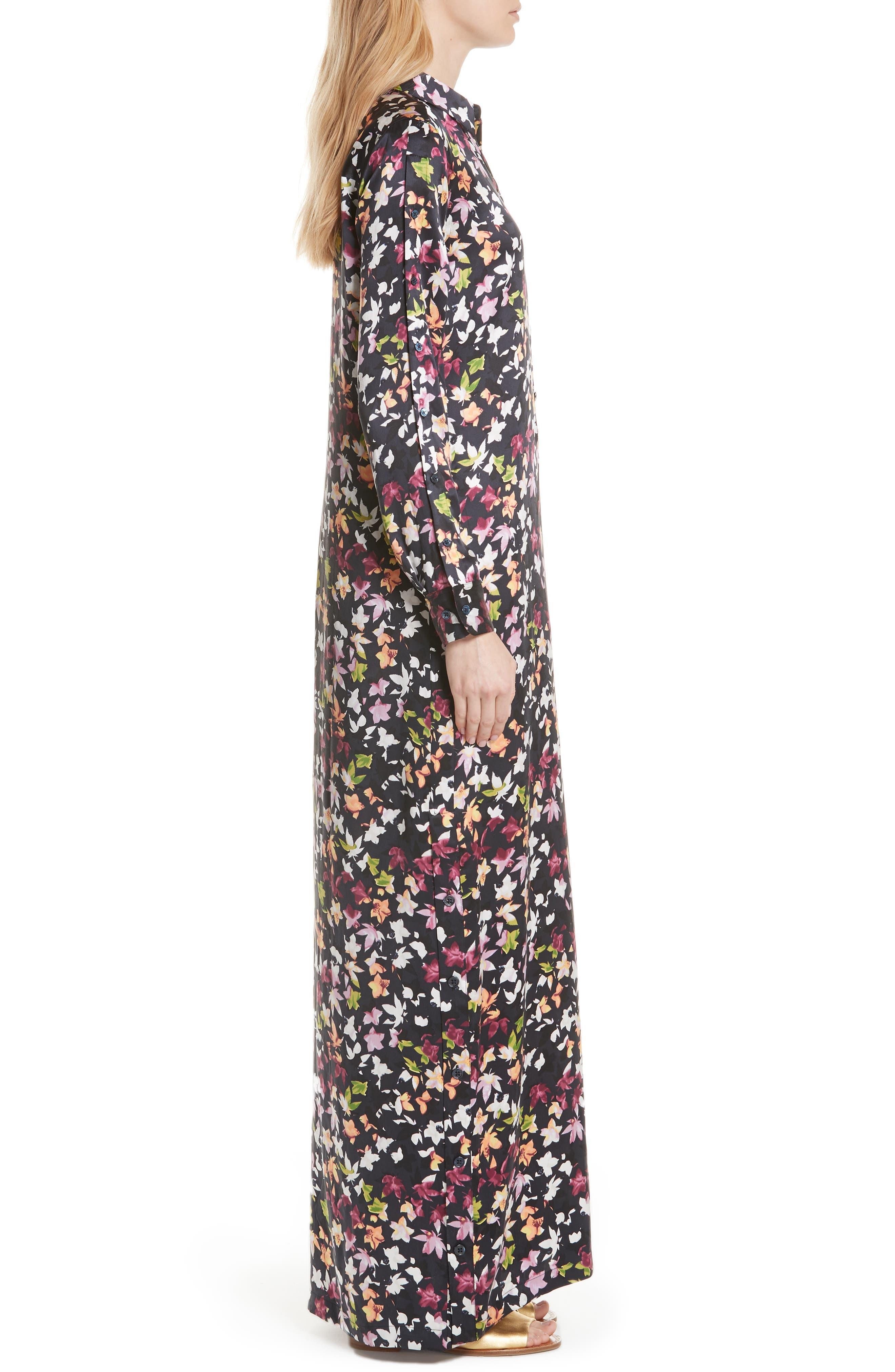 Simone Floral Silk Button Sleeve Maxi Dress,                             Alternate thumbnail 3, color,                             Eclipse Multi